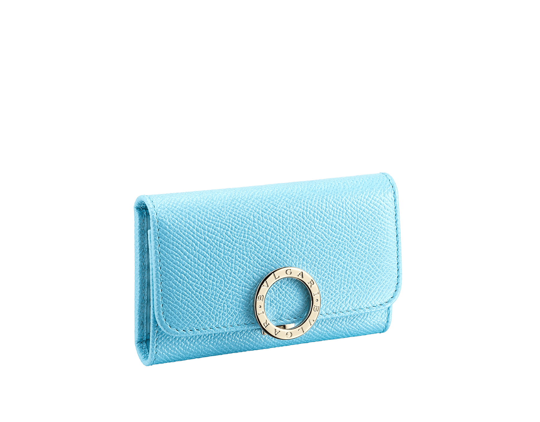 """BVLGARI BVLGARI"" small key holder in light, bright Aegean Topaz blue grained calfskin and light Aegean Topaz blue nappa leather. Iconic logo clip closure in light gold-plated brass. 579-KEYHOLDER-Sc image 1"