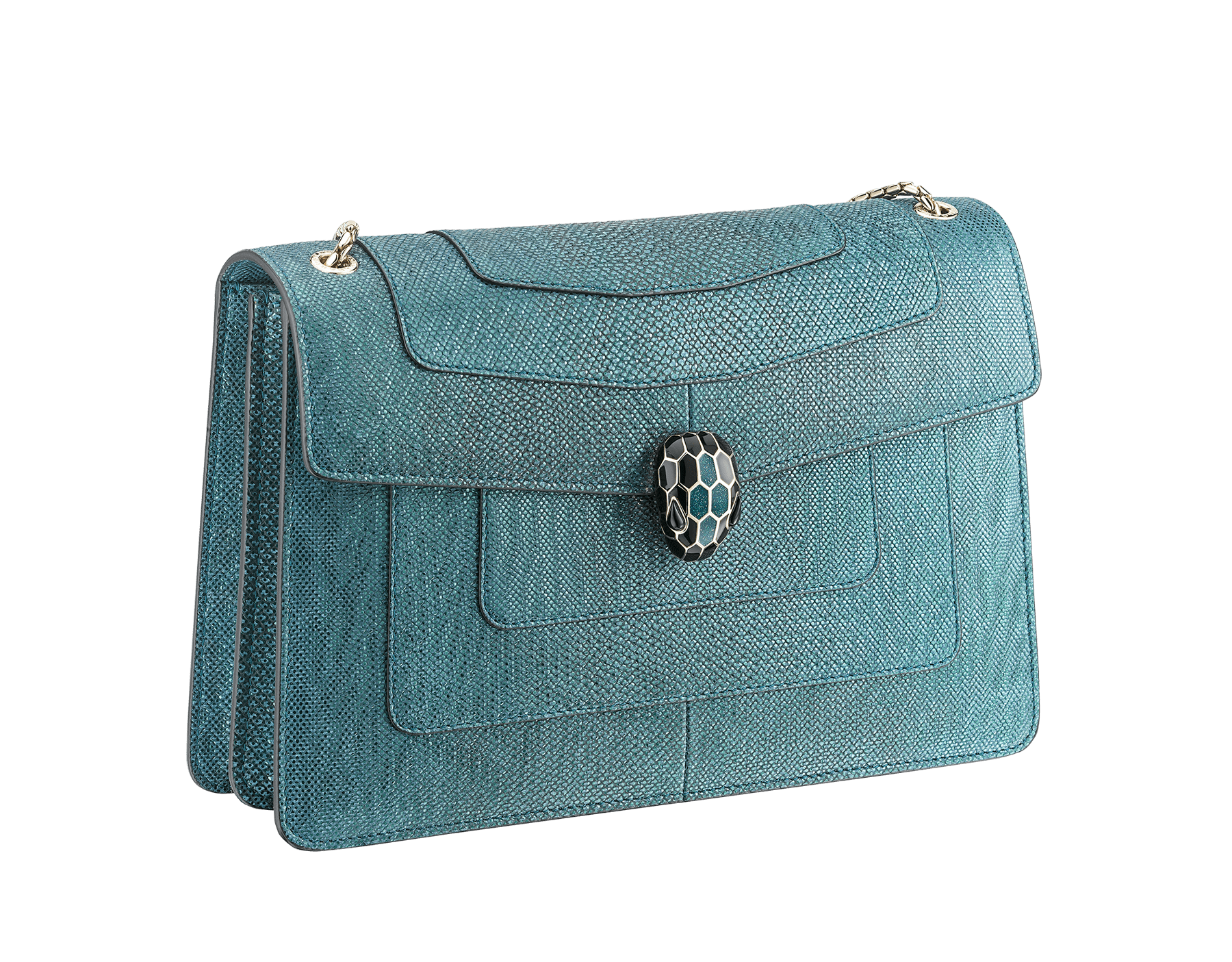 """""""Serpenti Forever"""" shoulder bag in deep jade metallic karung skin. Iconic snakehead closure in light gold plated brass enriched with black and glitter deep jade enamel and black onyx eyes. 287940 image 2"""