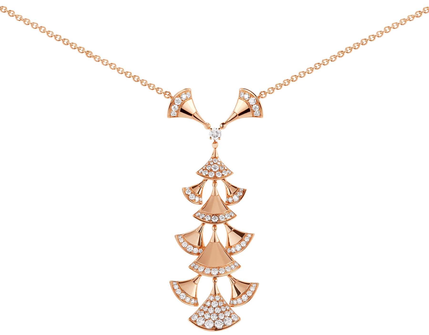 DIVAS' DREAM necklace in 18 kt rose gold set with diamonds and pavé diamonds. 352607 image 3