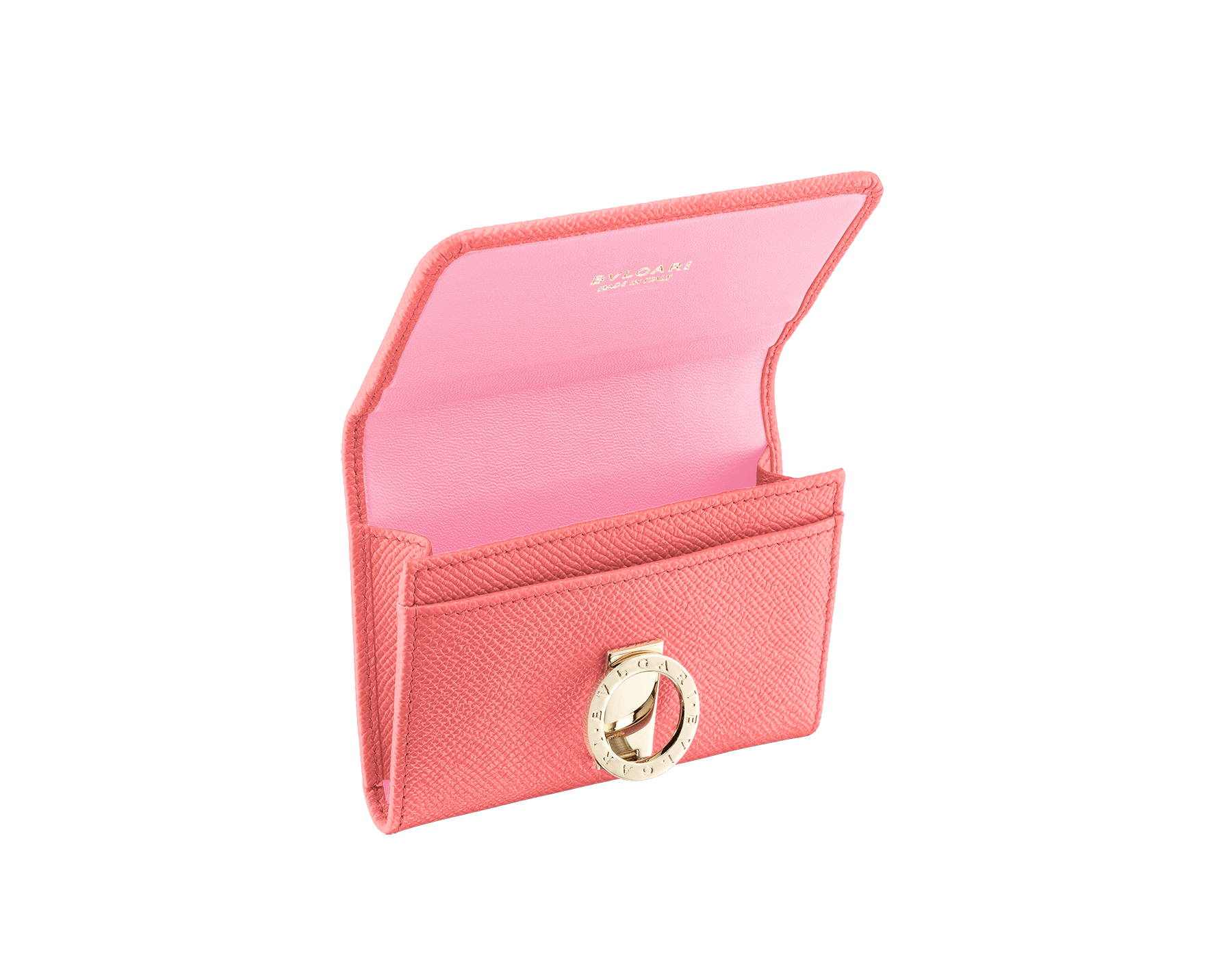 BVLGARI BVLGARI business card holder in silky coral bright grain calf leather and flamingo quartz nappa leather. Iconic logo clip closure in light gold plated brass. 289040 image 2
