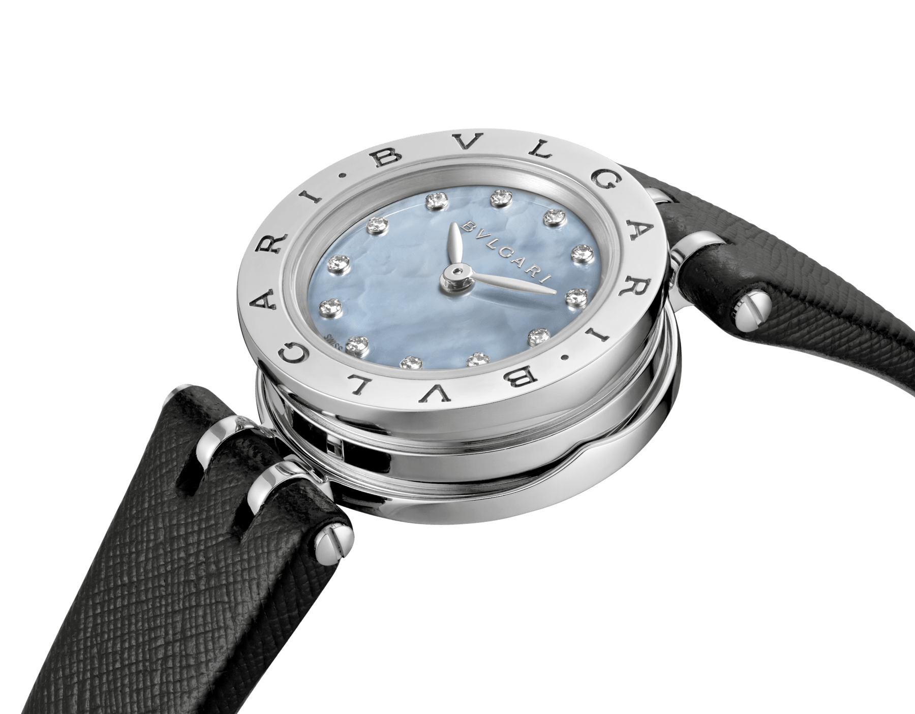 B.zero1 watch with stainless steel case, blue mother-of-pearl dial set with diamond indexes and black calf leather bracelet. 102472 image 2