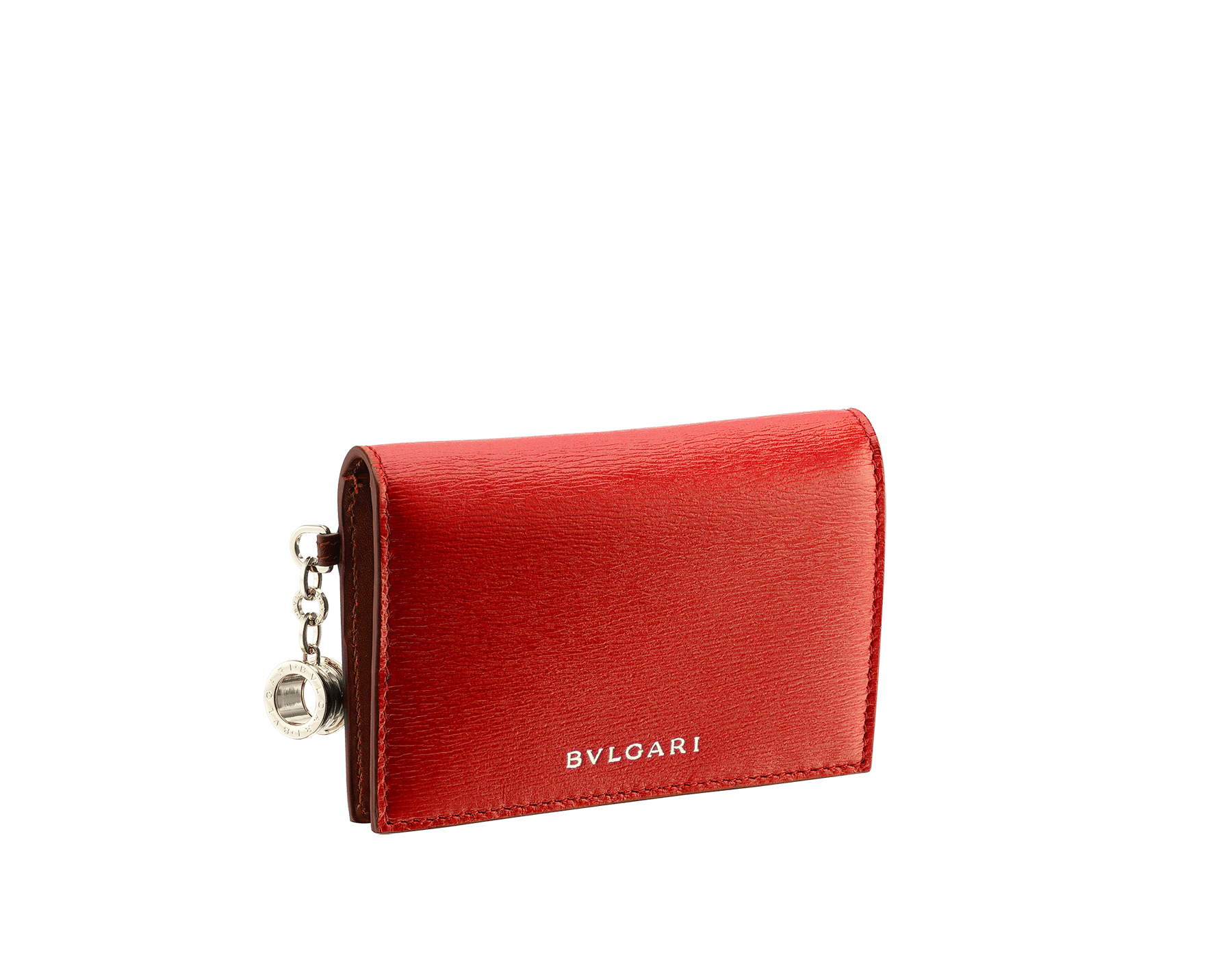 B.zero1 folded credit card holder in black goatskin. Iconic B.zero1 charm in light gold plated brass. BZA-CC-HOLDER-FOLD image 1