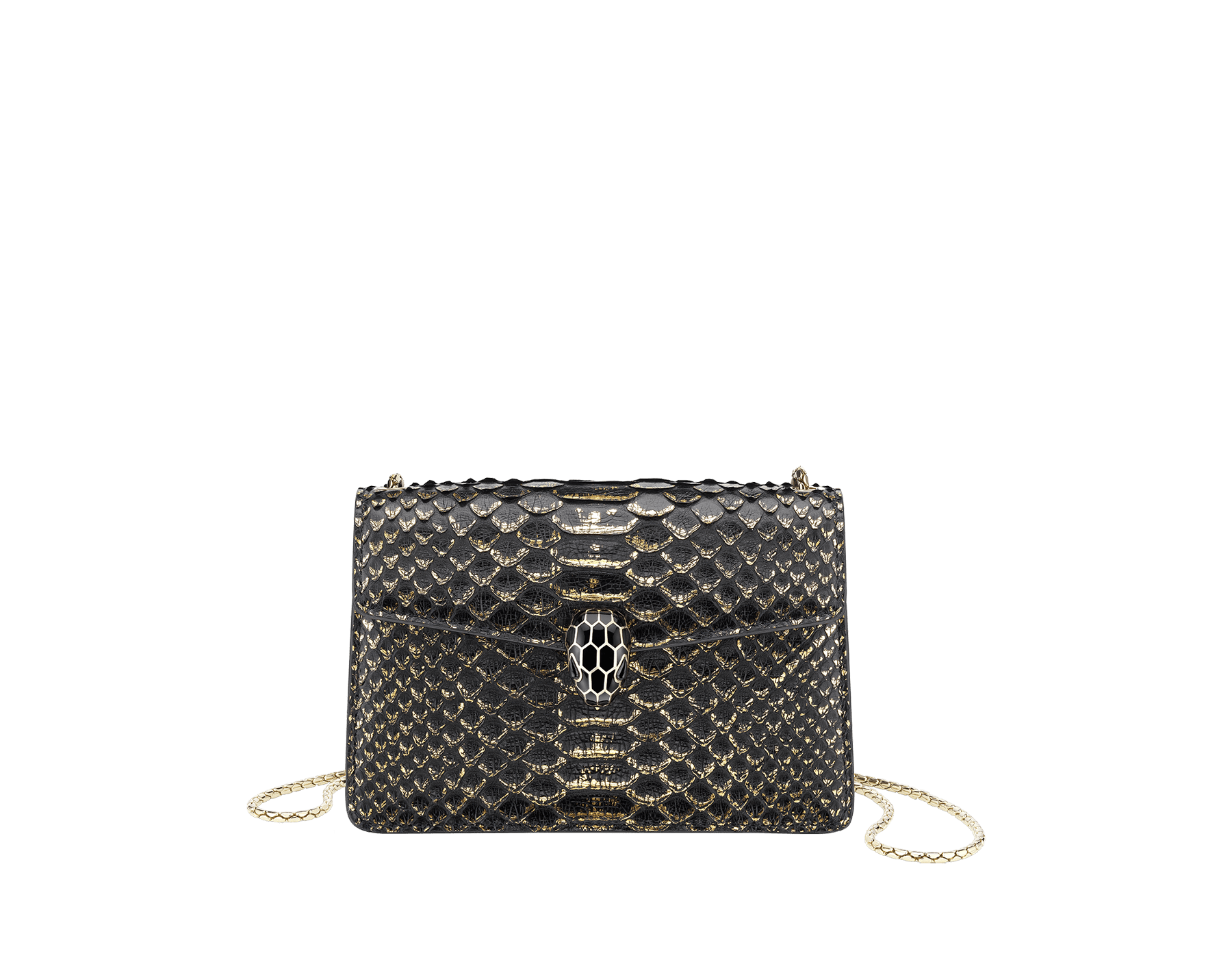 Serpenti Forever mini crossbody bag in black and gold Goldfinger python skin. Brass light gold plated snake head closure in black enamel, with black onyx eyes. 288096 image 1