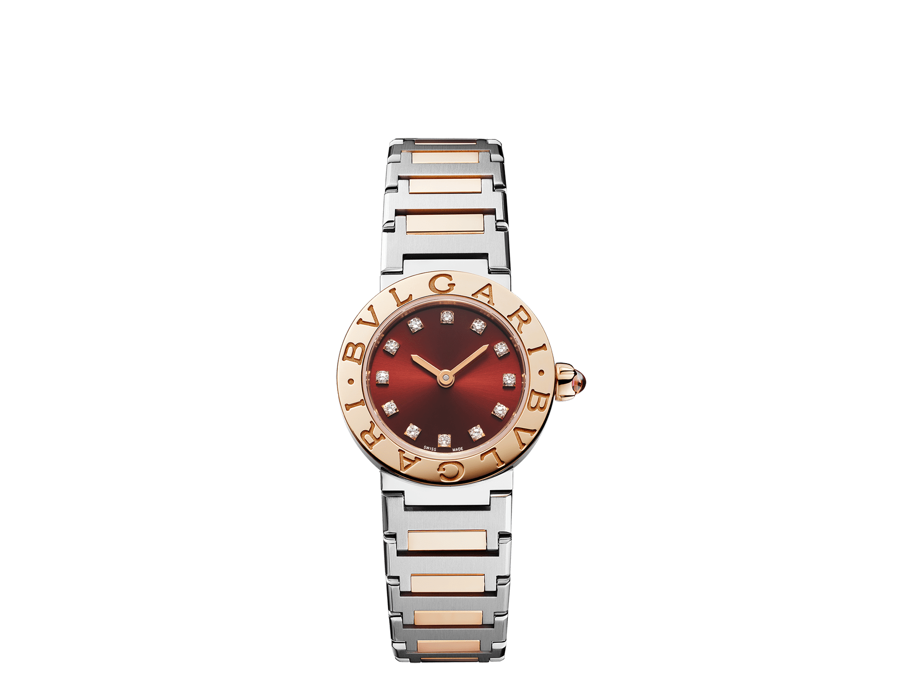 BVLGARI BVLGARI watch in 18 kt rose gold and stainless steel case and bracelet, 18 kt rose gold bezel engraved with double logo, brown satiné soleil lacquered dial and diamond indexes 103218 image 1