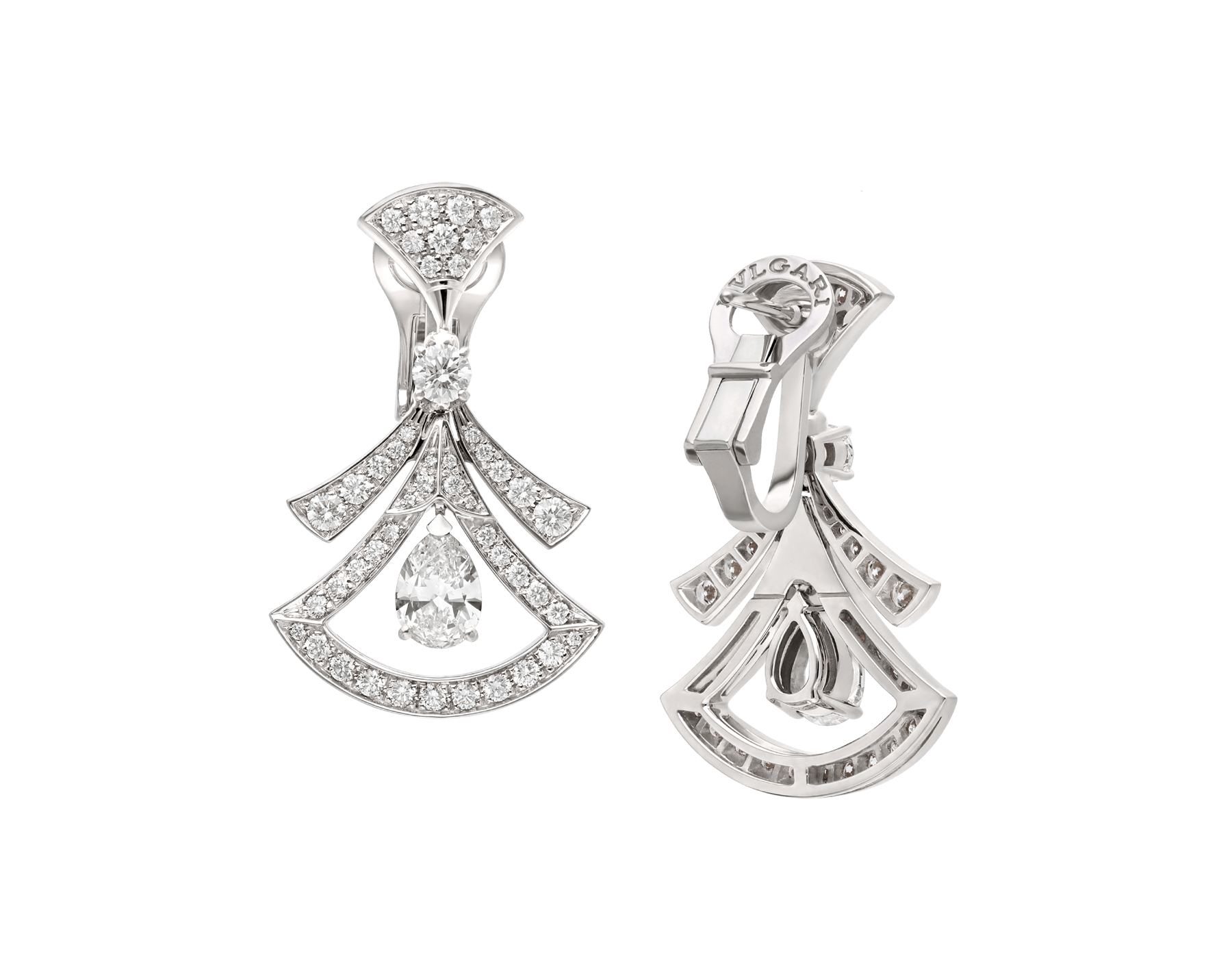 Divas' Dream 18 kt white gold openwork earrings set with two pear-shaped diamonds (1.40 ct), two round brilliant-cut diamonds (0.30 ct) and pavé diamonds (1.18 ct) 358221 image 3