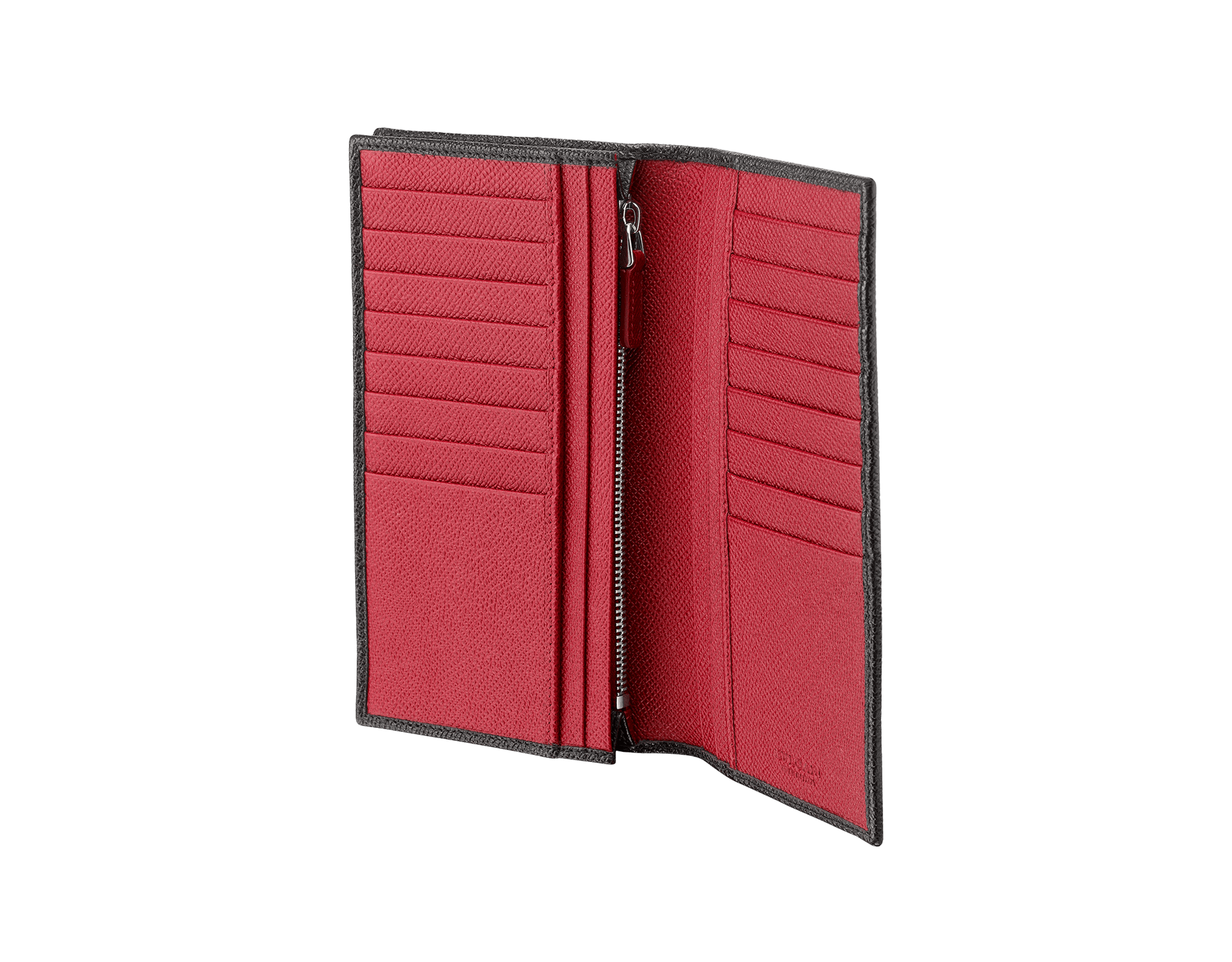 BVLGARI BVLGARI man wallet for yen in black and ruby dahlia grain calf leather and black nappa lining. Iconic logo décor in palladium plated brass. 288257 image 2