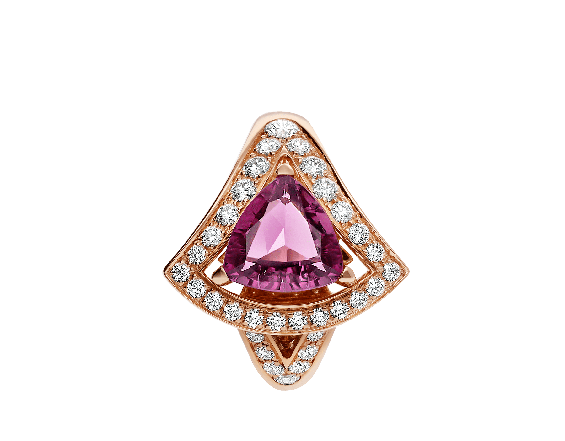 DIVAS' DREAM openwork ring in 18 kt rose gold with a pink tourmaline and set with pavé diamonds. AN858124 image 2