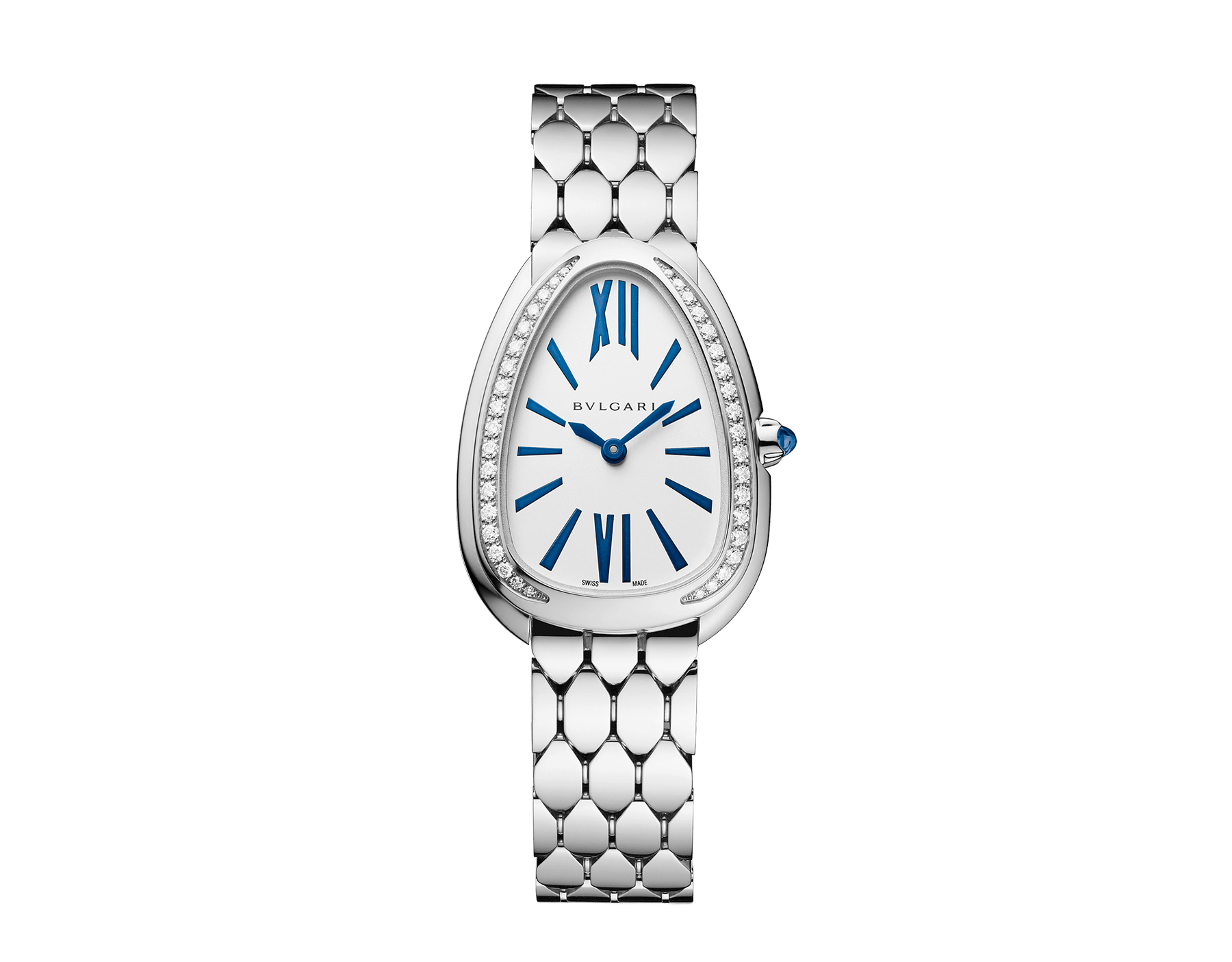 Serpenti Seduttori watch with 18 kt white gold case, 18 kt white gold bracelet, 18 kt white gold bezel set with diamonds and a white silver opaline dial. 103148 image 1