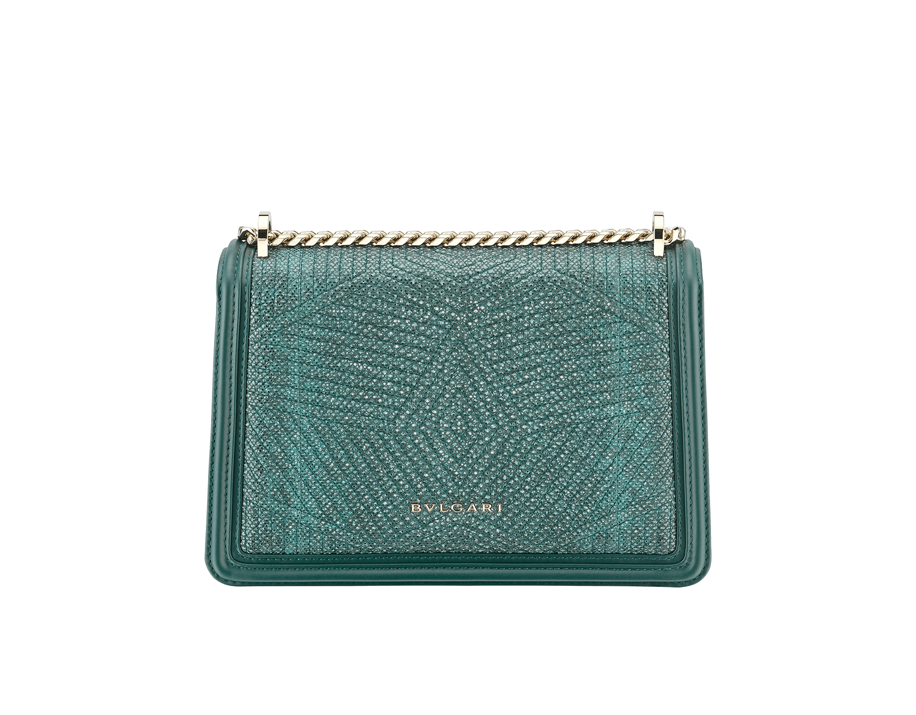 """Serpenti Diamond Blast"" shoulder bag in forest emerald quilted metallic karung skin and forest emerald calf leather frames. Iconic snakehead closure in light gold plated brass enriched with black and forest emerald enamel and green malachite eyes. Special Edition 289644 image 3"