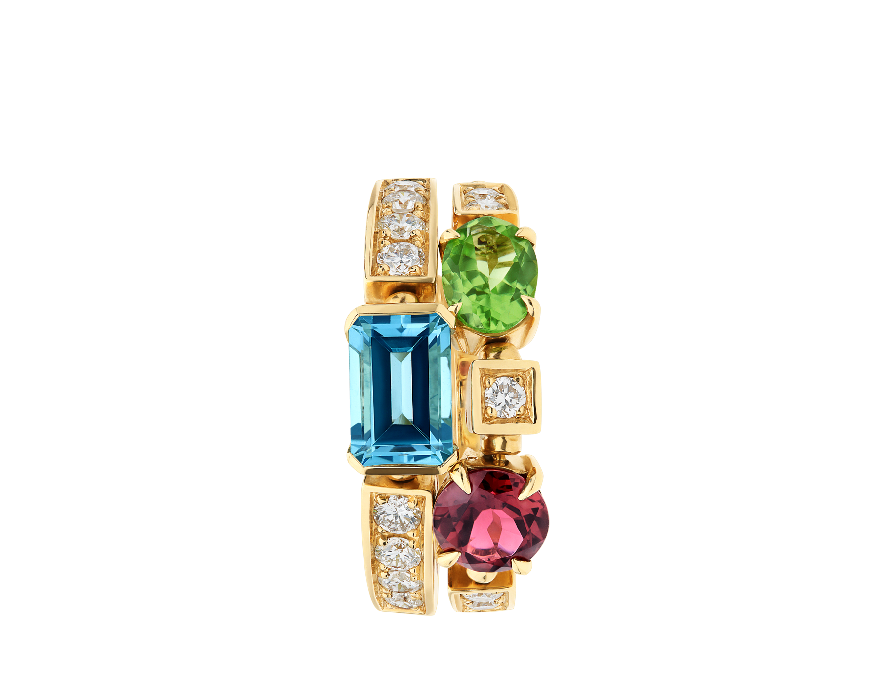Allegra two-band 18 kt yellow gold ring set with pink tourmaline, peridot, blue topaz and pavé diamonds AN852169 image 2