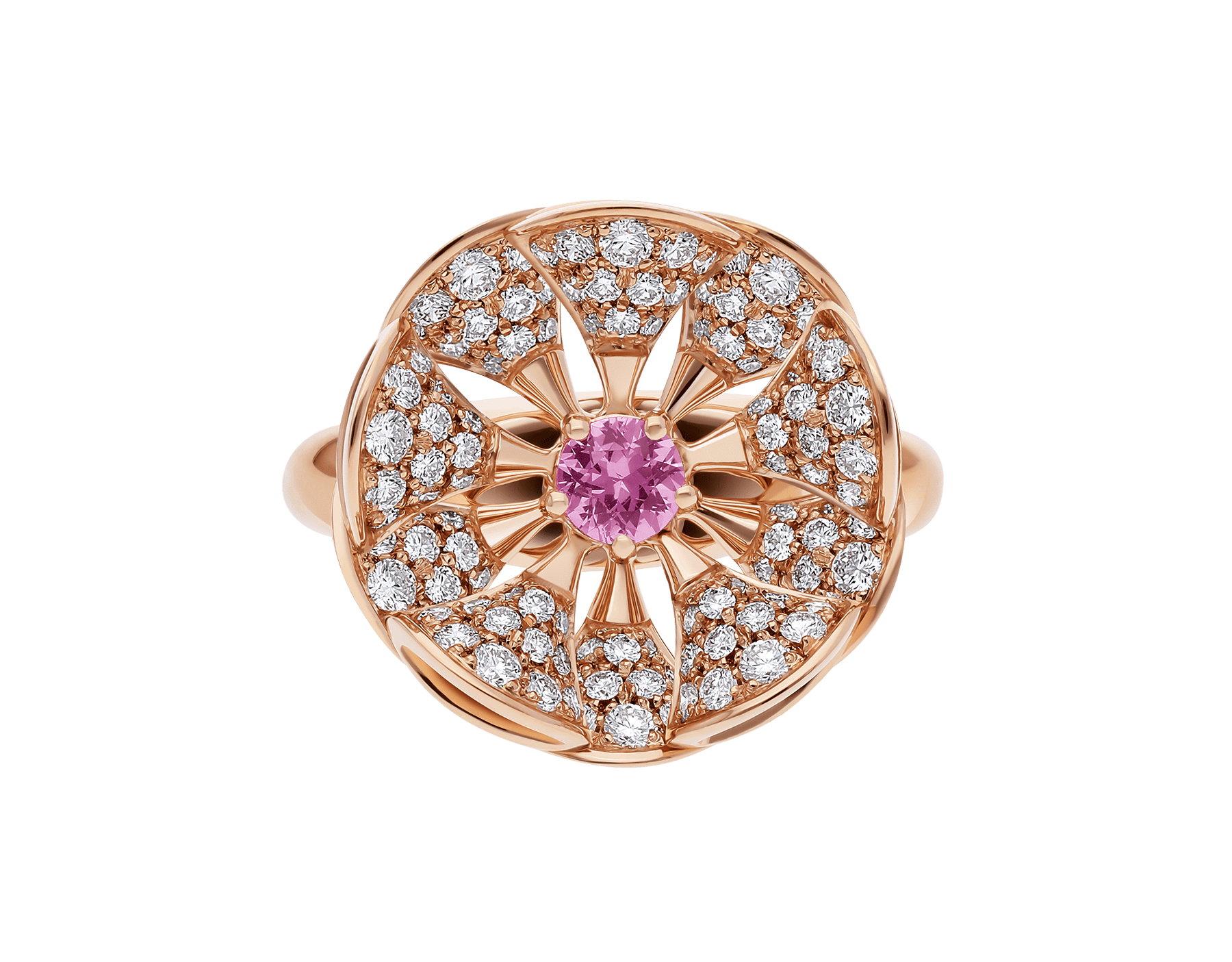 DIVAS' DREAM ring in 18 kt rose gold, set with a central pink sapphire and pavé diamonds (0.90 ct). AN857987 image 3