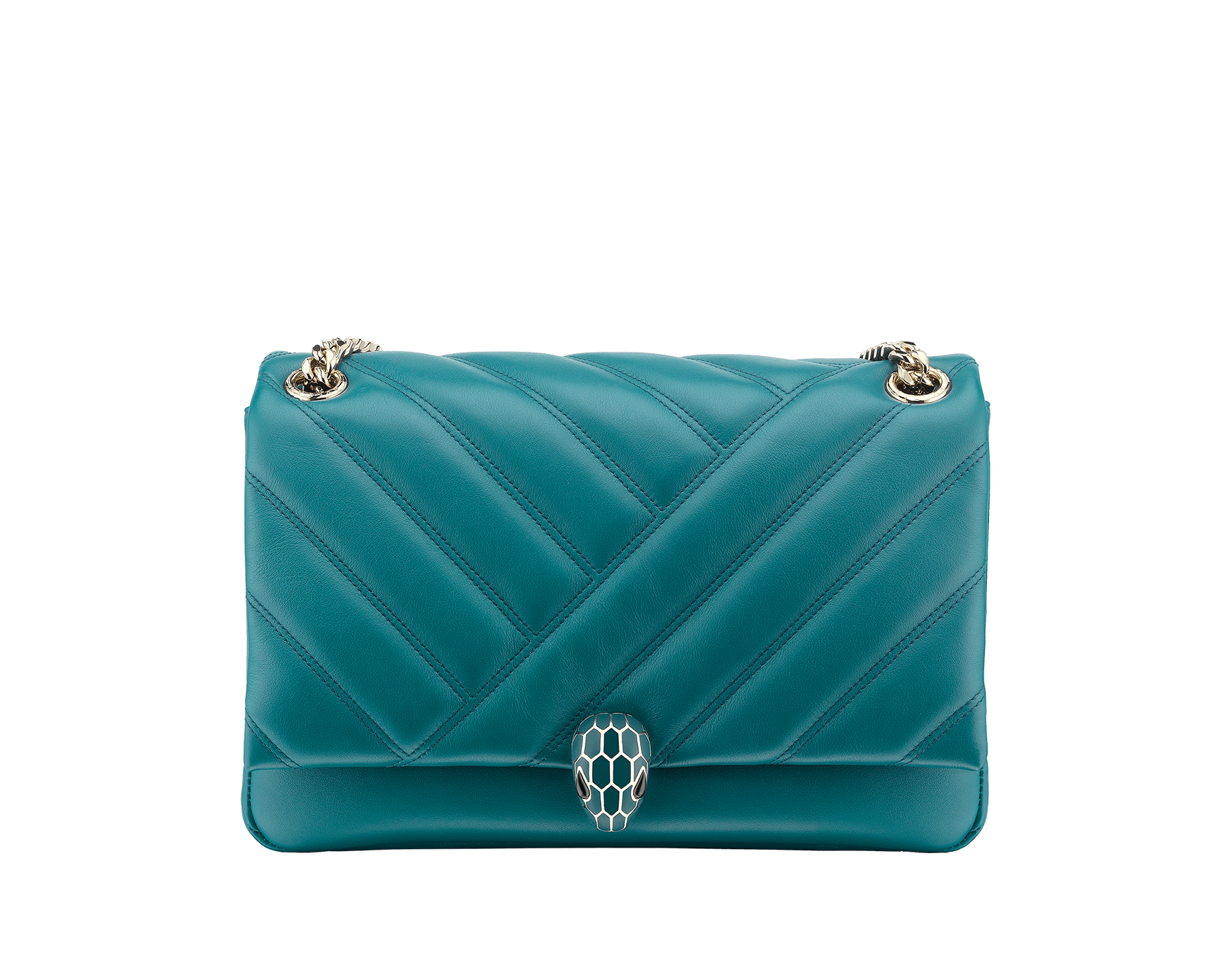 Serpenti Cabochon shoulder bag in soft matelassè deep jade nappa leather, with a graphic motif, and deep jade calf leather. Brass light gold plated tempting snake head closure in matte deep jade and shiny deep jade enamel, with black onyx eyes. 287984 image 4