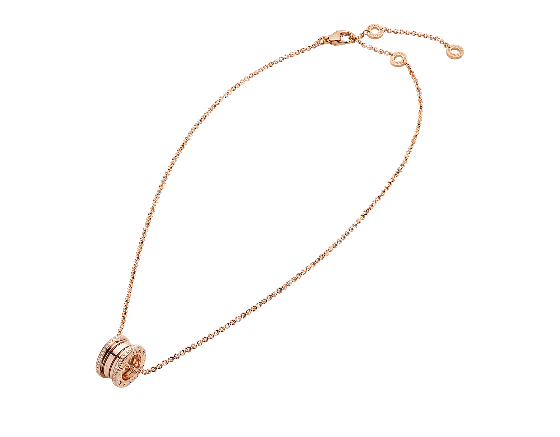 B.zero1 necklace with 18 kt rose gold chain and 18 kt rose gold round pendant set with pavé diamonds on the edges. 350052 image 2