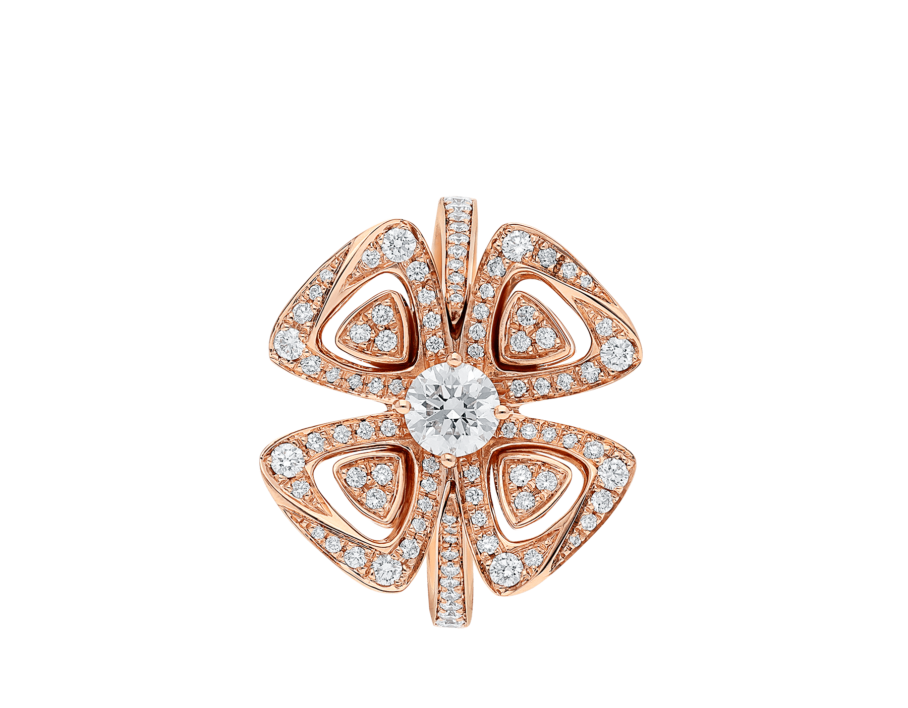 Fiorever 18 kt rose gold ring set with a central diamond and pavé diamonds. AN858504 image 2