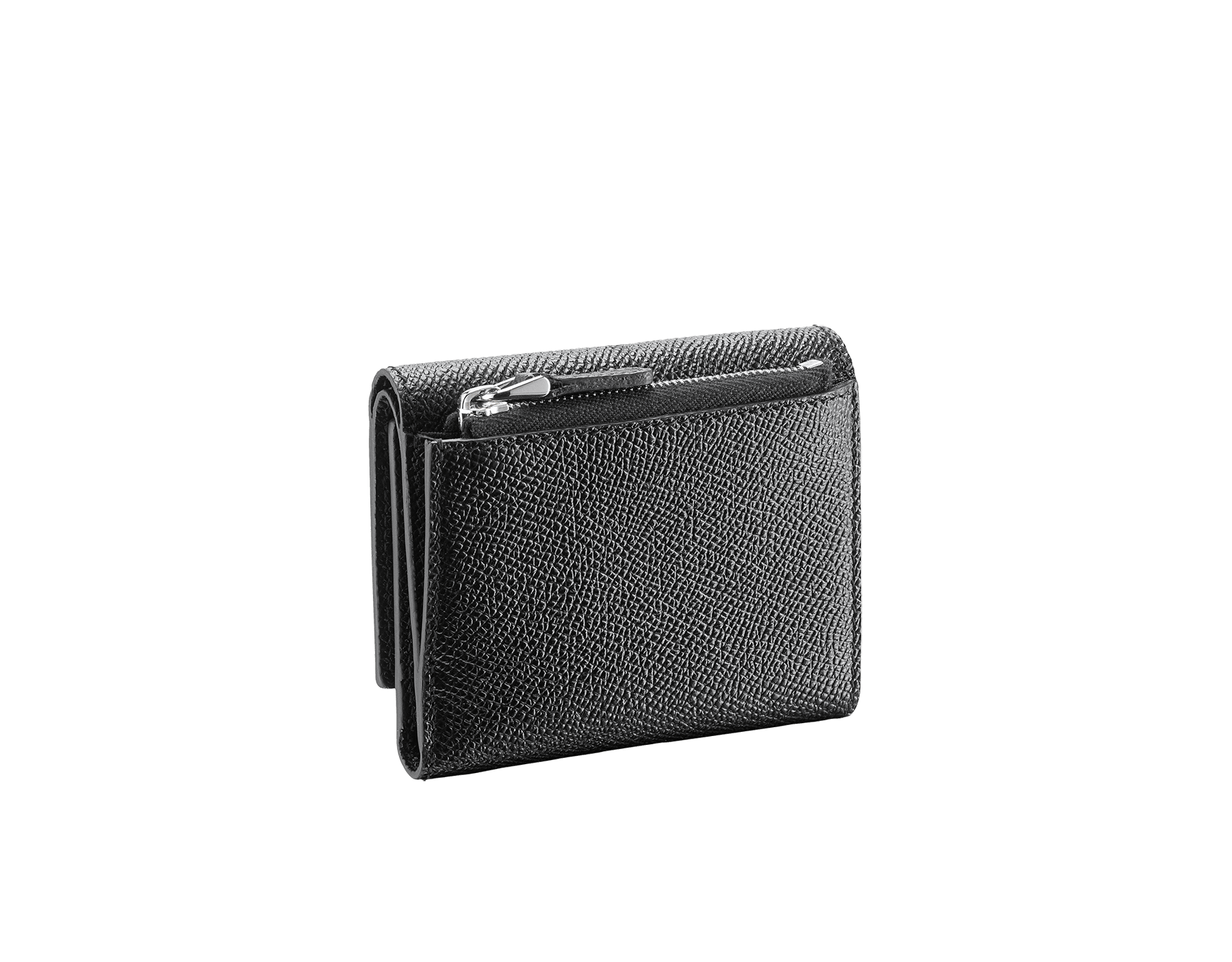ブラックのグレインカーフレザー製ブルガリ・ブルガリ スリムコンパクトウォレット。ブラスパラジウムプレートのアイコニックなロゴのクロージャークリップ。 289369 image 3