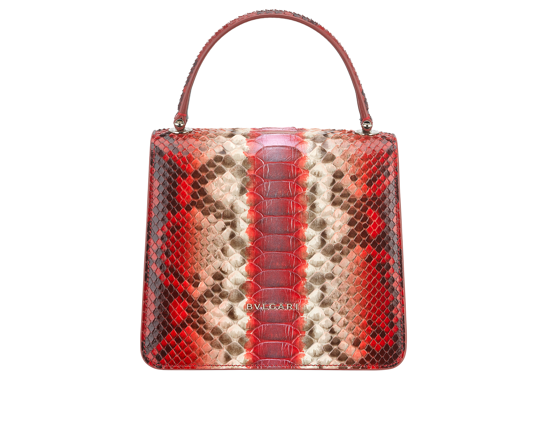 """Serpenti Forever "" crossbody bag in carmine jasper Eclectic"" python skin. Iconic snakehead closure in light gold plated brass enriched with black and carmine jasper enamel and black onyx eyes. 288874 image 3"