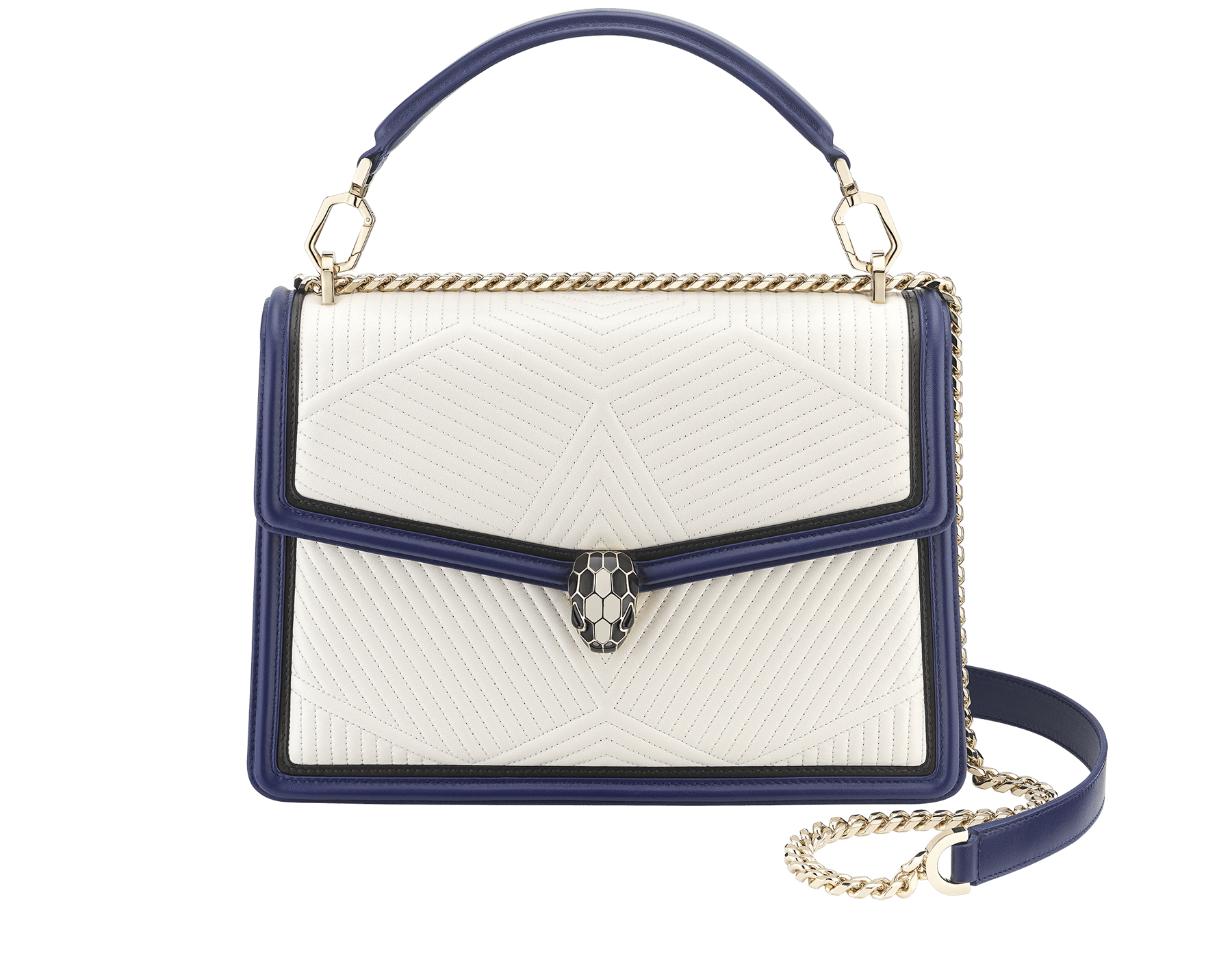 """Serpenti Diamond Blast"" shoulder bag in quilted, agate-white nappa leather with Royal Sapphire blue and black calfskin edging and Royal Sapphire blue nappa leather inner lining. Iconic snakehead closure in light gold-plated brass embellished with black and agate-white enamel and black onyx eyes. 973-FQDa image 1"