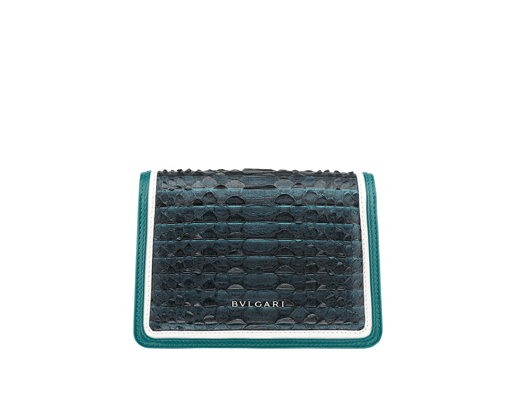 """Serpenti Diamond Blast"" crossbody micro bag in deep jade Plissé python skin body and deep jade and white calf leather frames. Iconic snakehead closure in palladium plated brass enriched with deep jade and black enamel and black onyx eyes. 288119 image 3"