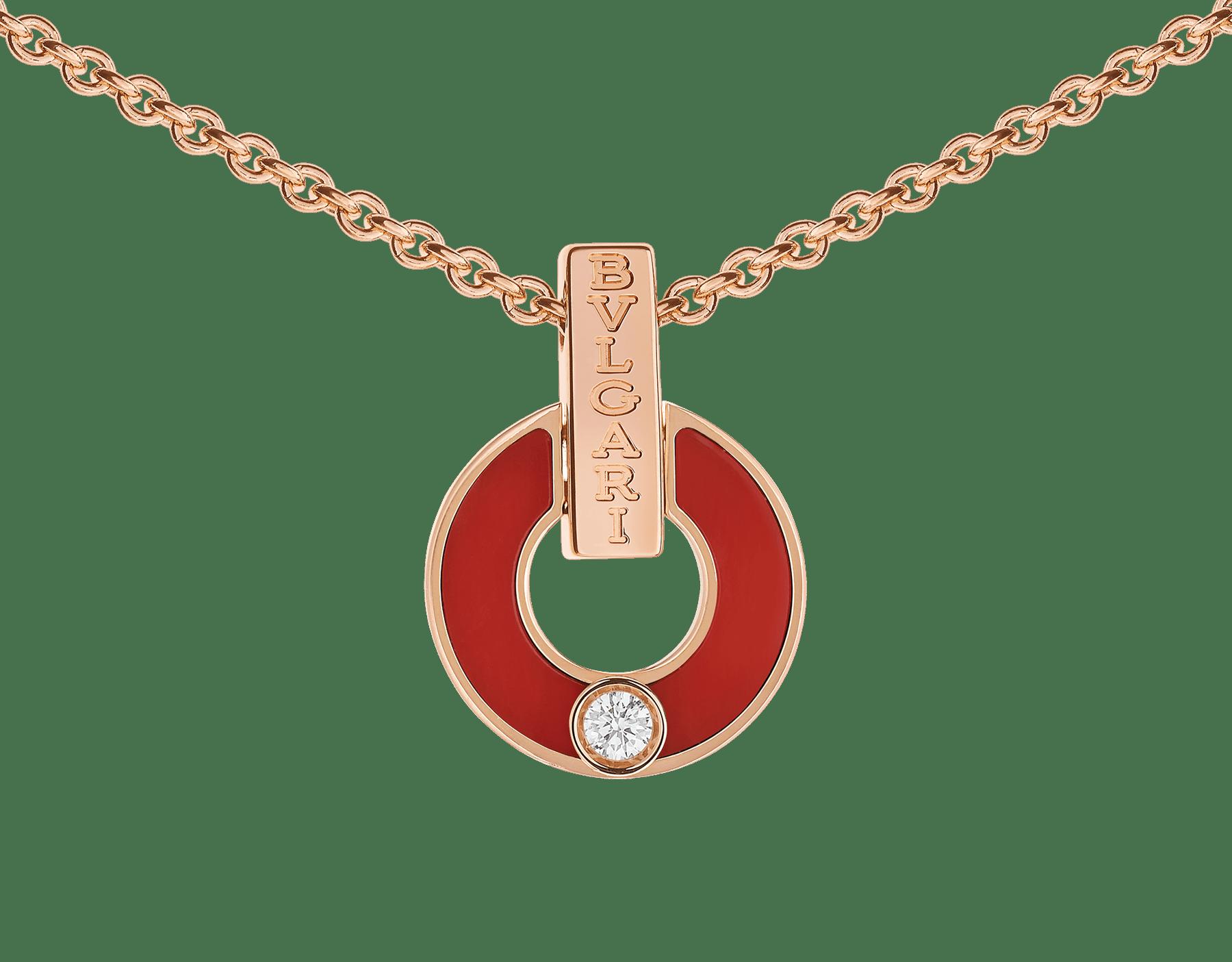 Skelettierte BVLGARI BVLGARI Halskette aus 18 Karat Gelbgold mit Korallen-Elementen und einem runden Diamanten im Brillantschliff 357921 image 3
