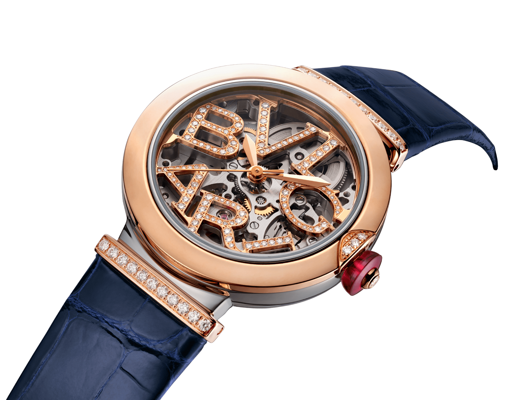 LVCEA Skeleton watch with mechanical manufacture movement, automatic winding and skeleton execution, stainless steel and 18 kt rose gold case, 18 kt rose gold openwork BVLGARI logo dial set with brilliant-cut diamonds and blue alligator bracelet with 18 kt rose gold links set with diamonds 103502 image 2