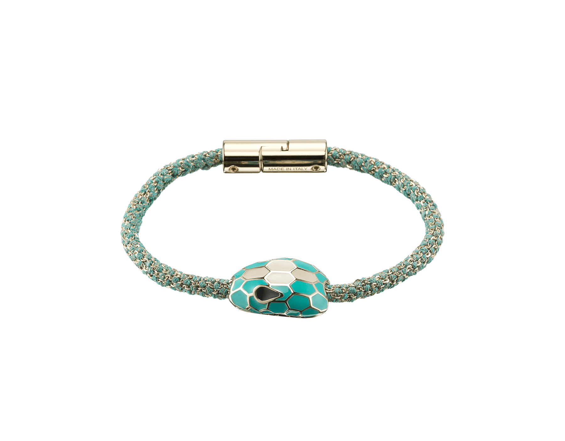 Serpenti Forever bracelet in arctic jade metallic woven silk with an iconic snakehead décor in arctic jade and white enamel. 289447 image 1