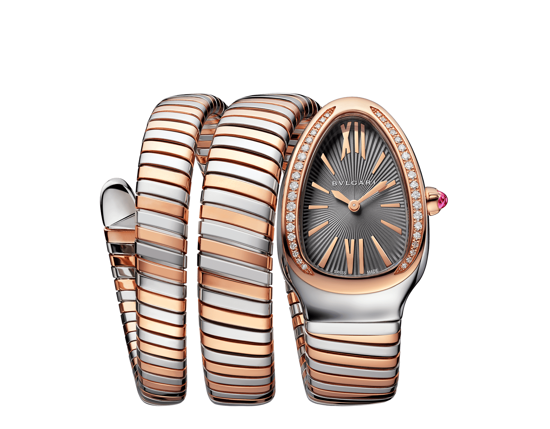 Serpenti Tubogas double spiral watch with stainless steel case, 18 kt rose gold bezel set with brilliant cut diamonds, grey lacquered dial, 18 kt rose gold and stainless steel bracelet. 102680 image 1