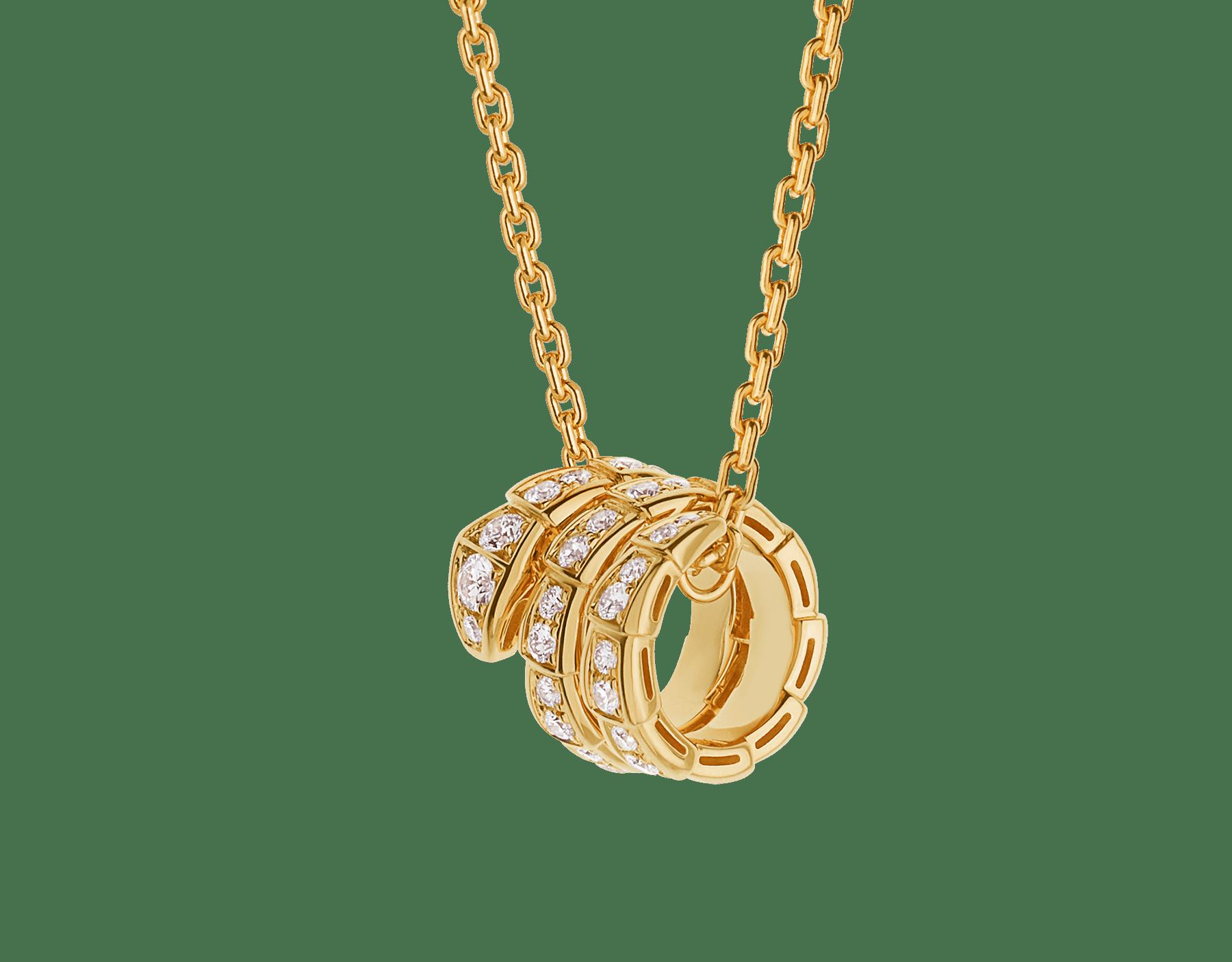 Serpenti Viper 18 kt yellow gold pendant necklace set with pavé diamonds 357936 image 1