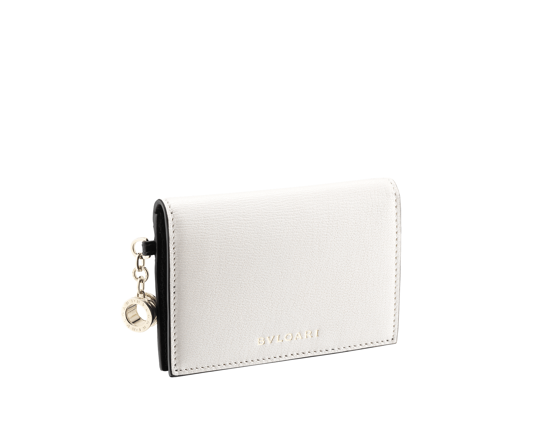 B.zero1 folded credit card holder in black and white goatskin. Iconic B.zero1 charm in light gold-plated brass. 288239 image 1