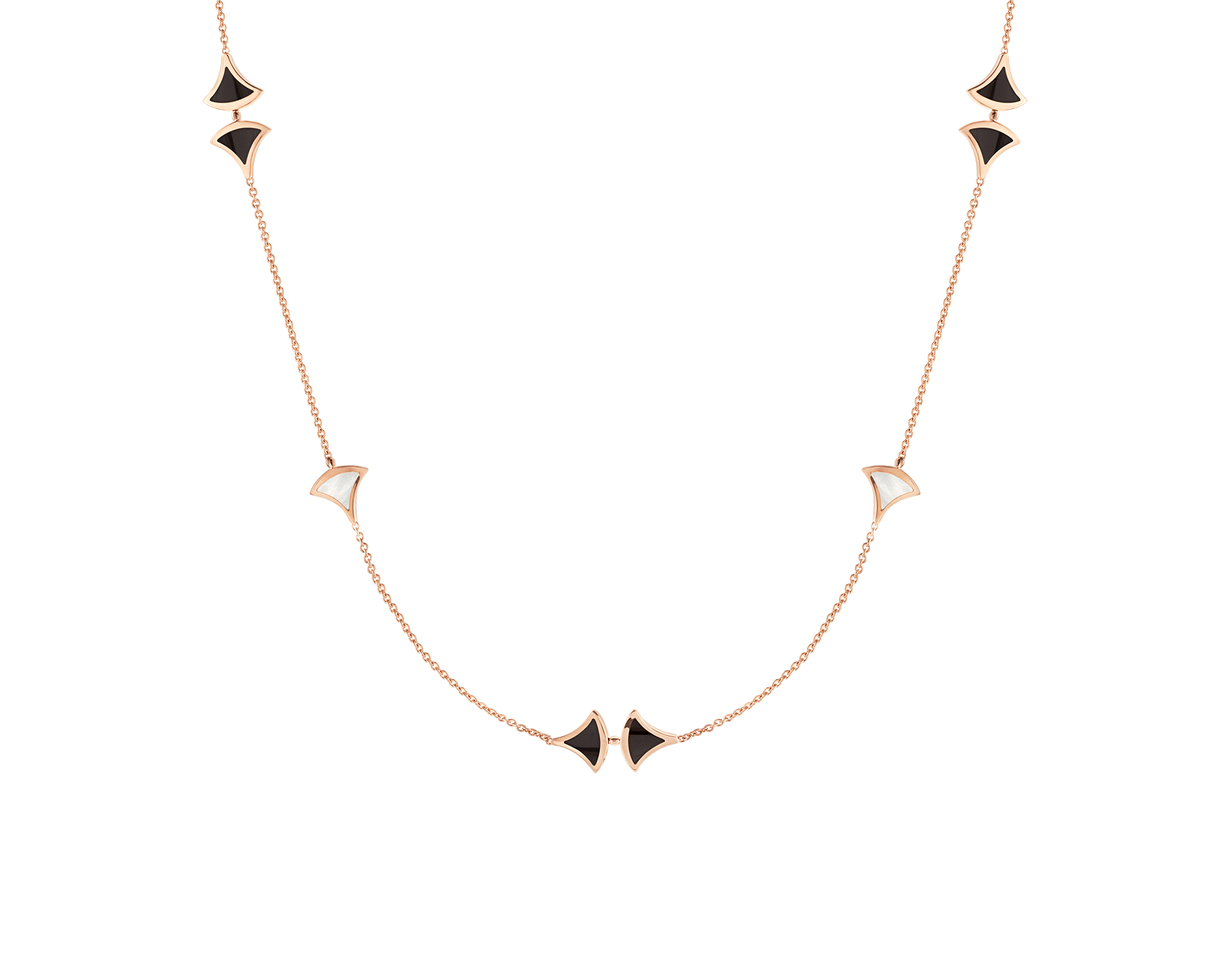 Sautoir DIVAS' DREAM en or rose 18K avec pendentif serti d'éléments en nacre et onyx. 350060 image 1