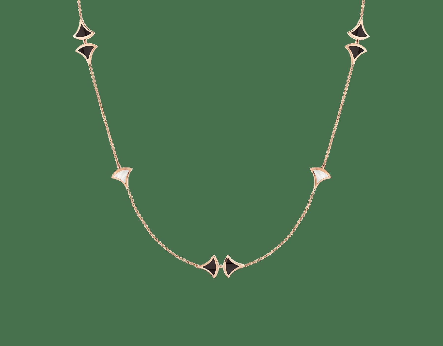 Sautoir DIVAS' DREAM en oro rosa de 18 qt con elementos de madreperla y ónix negro. 350060 image 1