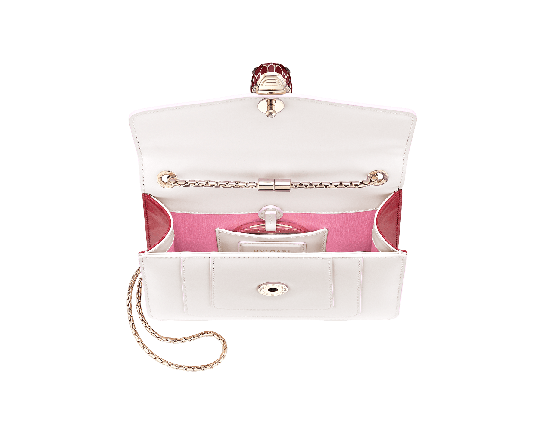 """Serpenti Forever"" crossbody bag in white agate calf leather body and ruby red calf leather sides. Iconic snakehead closure in light gold plated brass enriched with ruby red and white agate enamel and black onyx eyes. 289198 image 4"