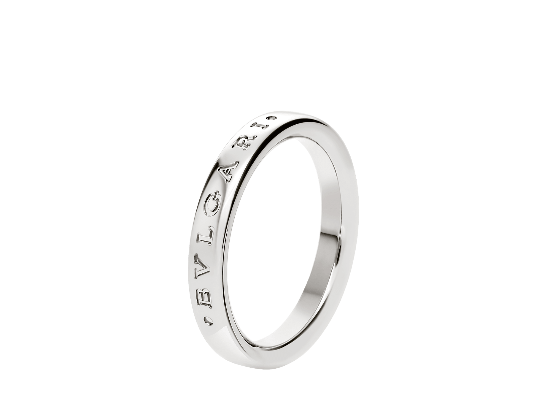 Fedi wedding band in platinum with thin BVLGARI logo engraving. AN858268 image 1
