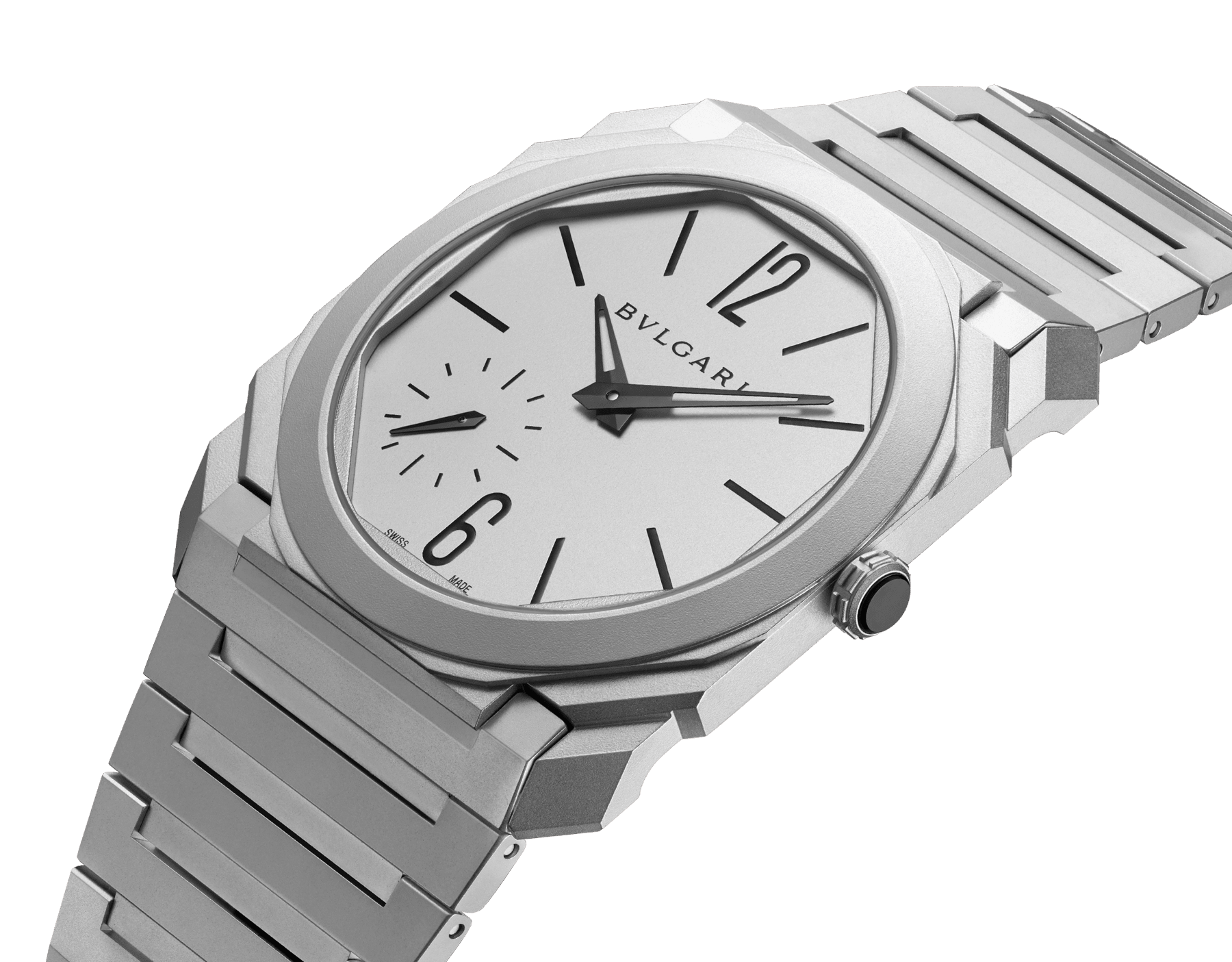 Octo Finissimo Automatic watch with mechanical manufacture movement, automatic winding, platinum microrotor, small seconds, extra-thin stainless steel case, dial and bracelet 103011 image 2