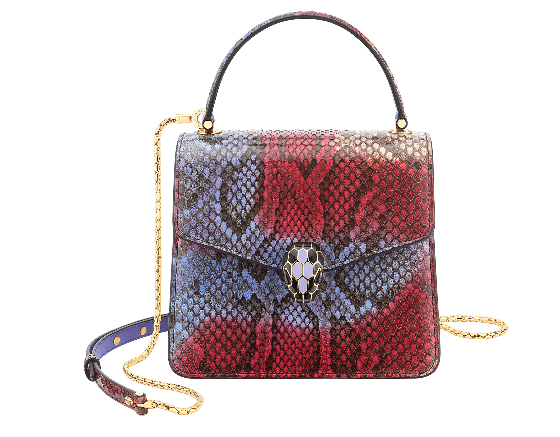 """""""Serpenti Forever """" top handle bag in multicolor """"Chimera"""" python skin with Lavander Amethyst lilac nappa leather internal lining. Tempting snakehead closure in gold plated brass enriched with black and Lavander lilac enamel, and black onyx eyes 290579 image 1"""