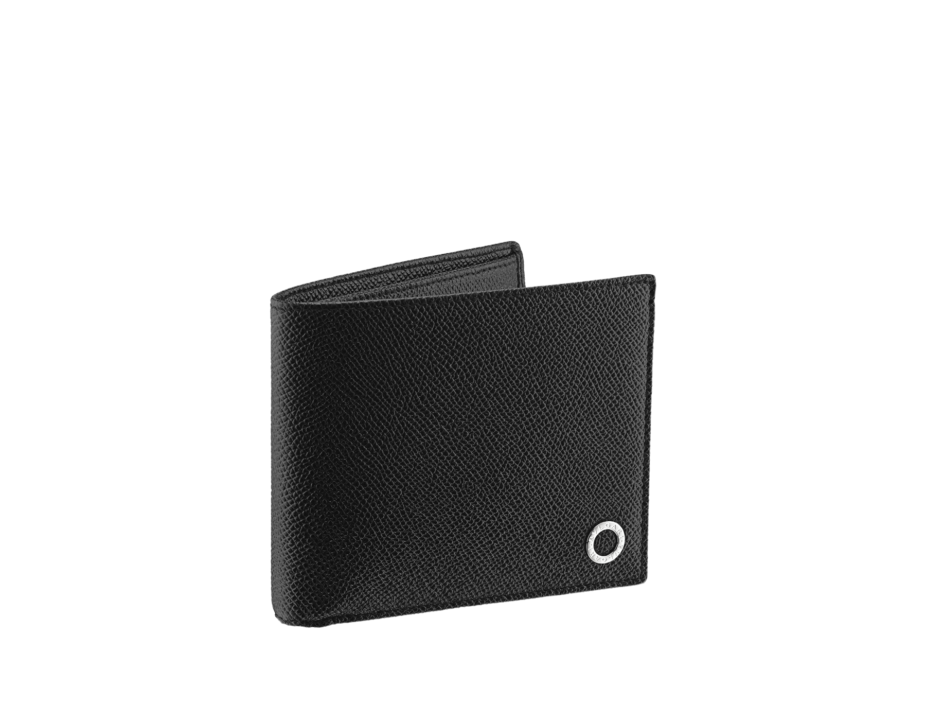 Wallet hipster for men in black grain calf leather with brass palladium plated hardware featuring the BVLGARI BVLGARI motif. 38116 image 1