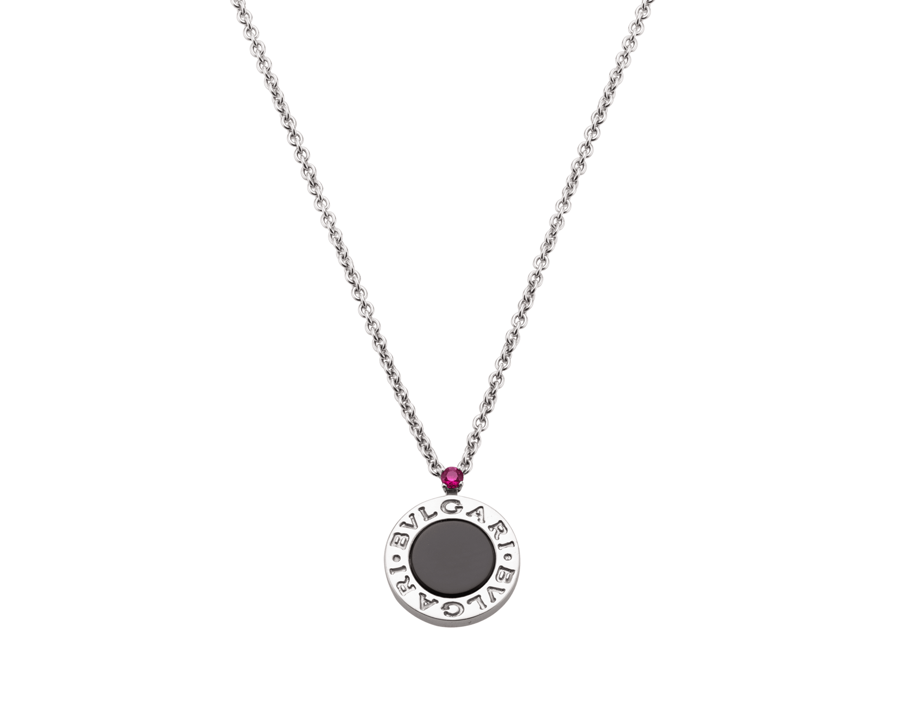 Save the Children 10th anniversary necklace in sterling silver with pendant set with onyx element and a ruby 356910 image 4