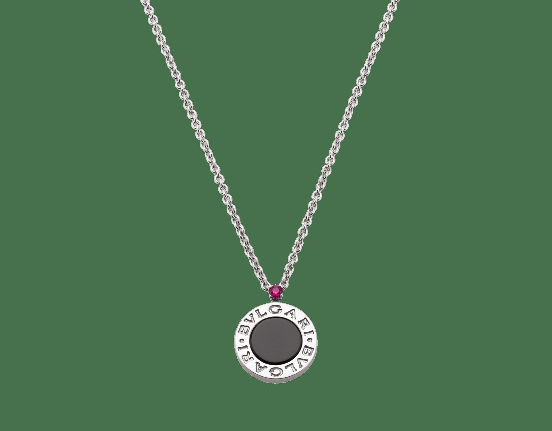 Collier Save the Children 10eAnniversaire en argent massif avec pendentif serti d'un élément en onyx et d'un rubis 356910 image 4