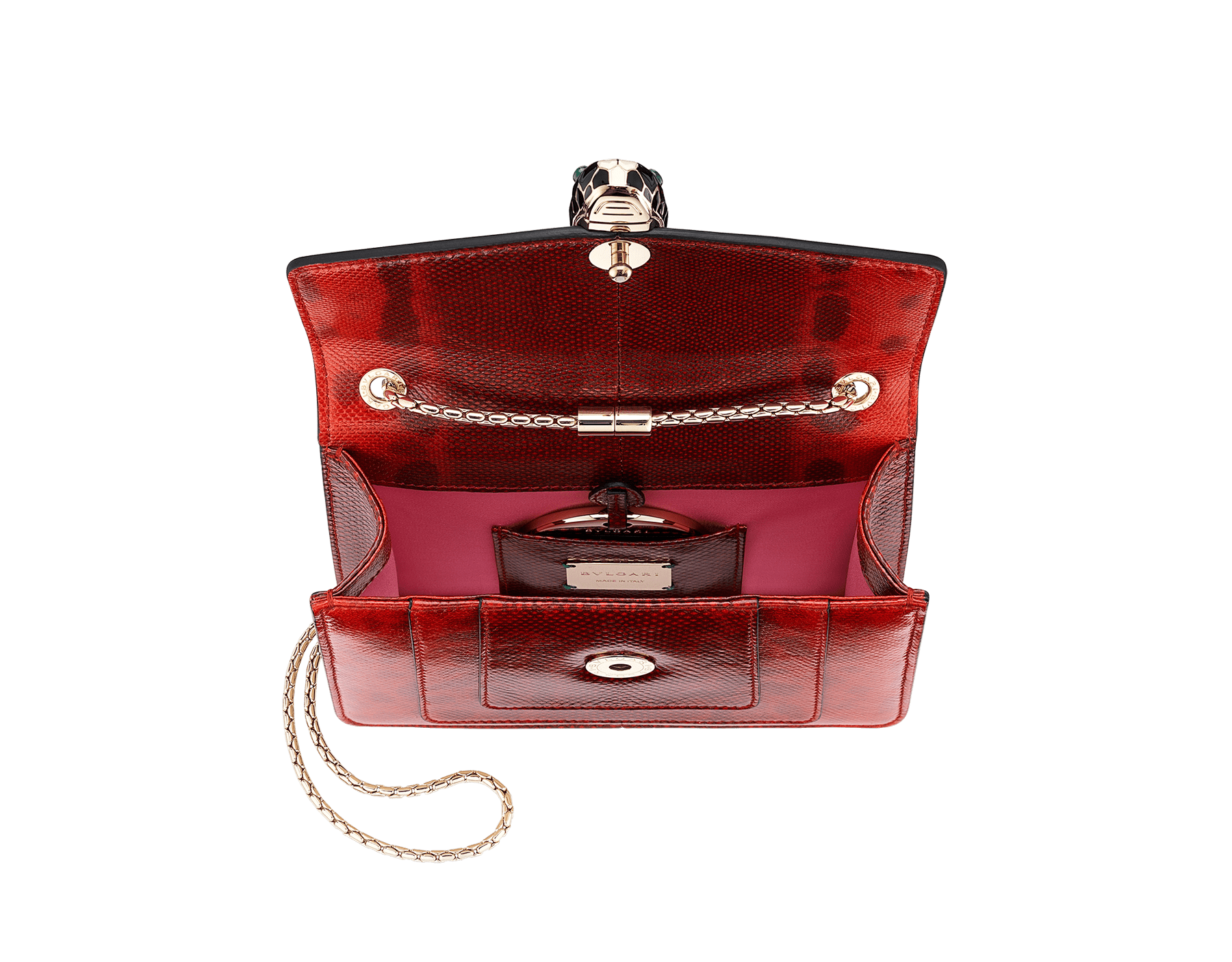 """Serpenti Forever "" crossbody bag in shiny carmine jasper karung skin. Iconic snakehead closure in light gold plated brass enriched with black and white enamel and green malachite eyes 287104 image 4"