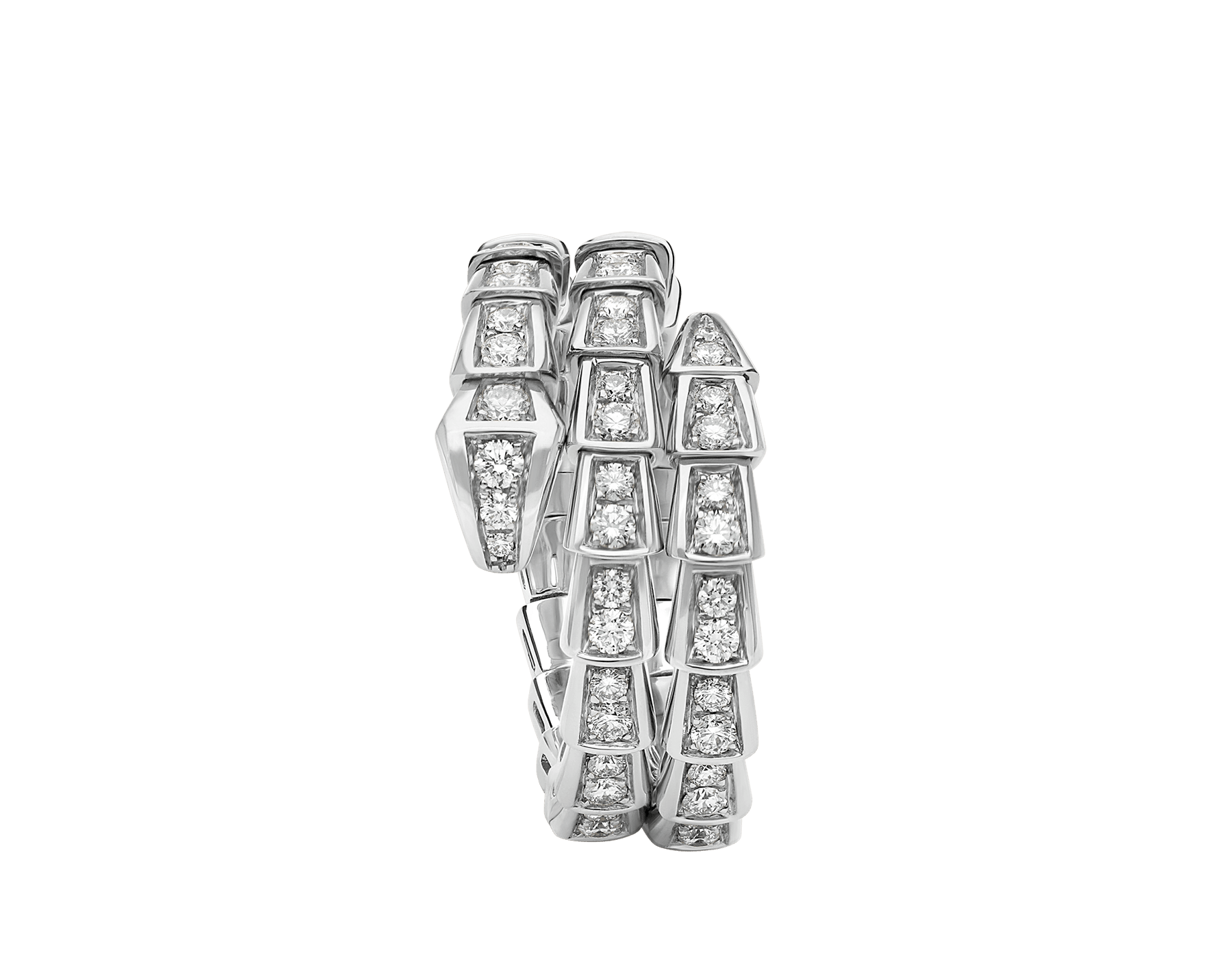 Serpenti Viper two-coil 18 kt white gold ring, set with pavé diamonds AN858793 image 2