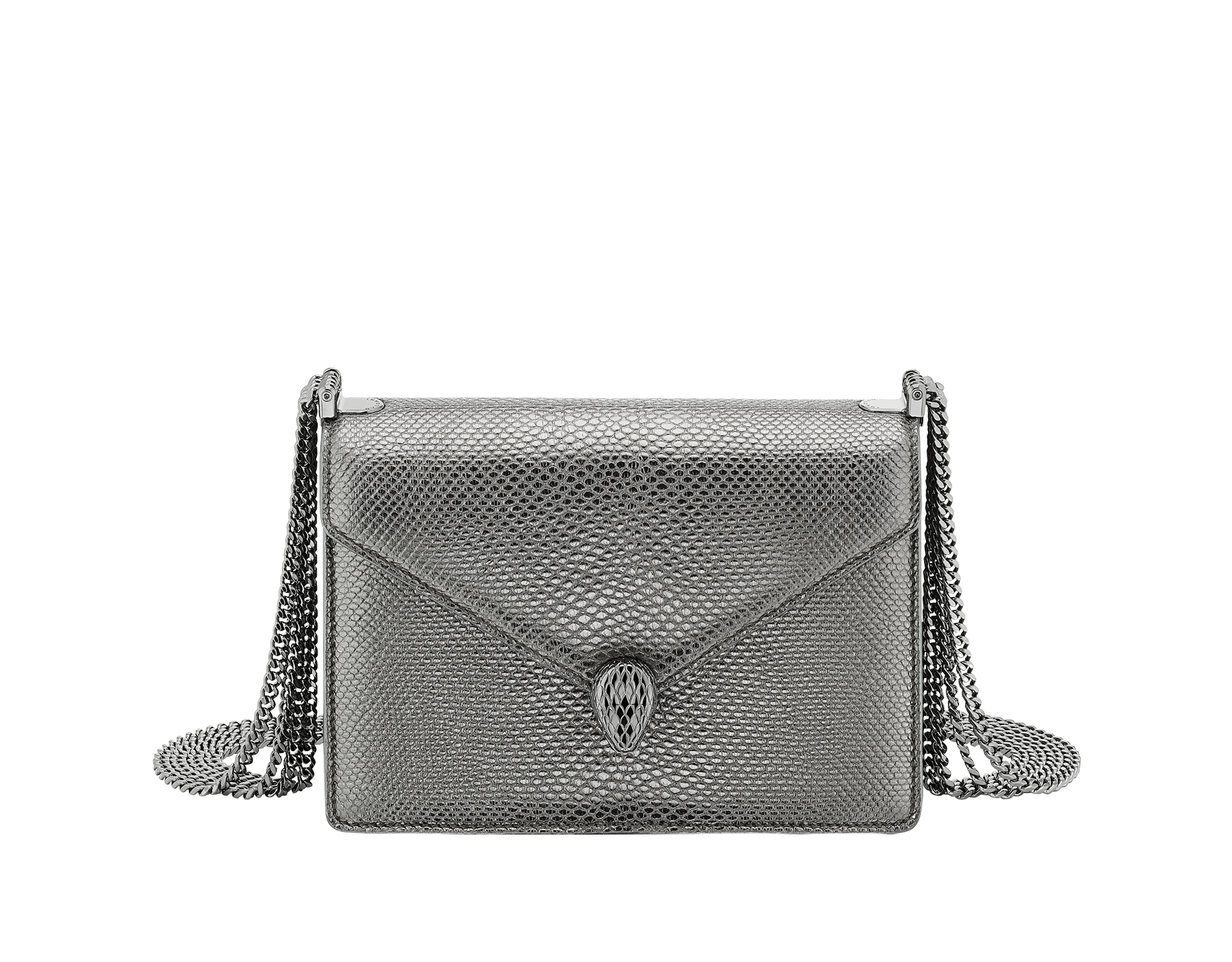 """Serpenti Forever"" multichain shoulder bag in ""Molten"" Charcoal Diamond grey karung skin with black nappa leather inner lining, offering a touch of radiance for the Winter Holidays. New Serpenti head closure in dark ruthenium-plated brass, complete with ruby-red enamel eyes. 290543 image 1"