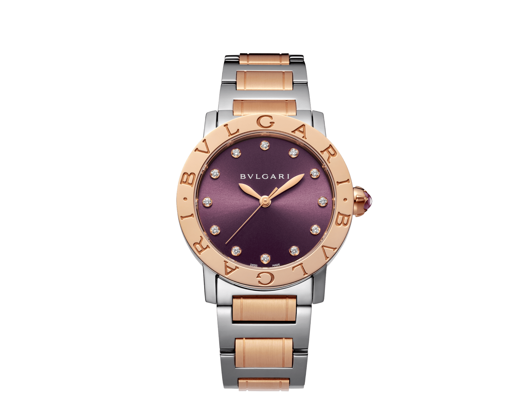 BVLGARI BVLGARI LADY watch in stainless steel and 18 kt rose gold case and bracelet, with purple satiné soleil lacquered dial and diamond indexes 102622 image 1