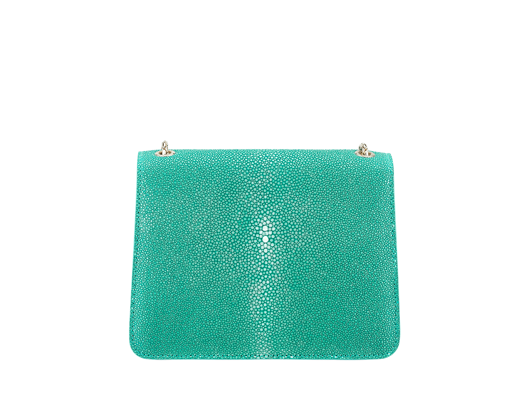 Serpenti Forever crossbody bag in tropical turquoise galuchat skin. Snakehead closure in light gold plated brass decorated with black and white enamel, and green malachite eyes. 288067 image 3