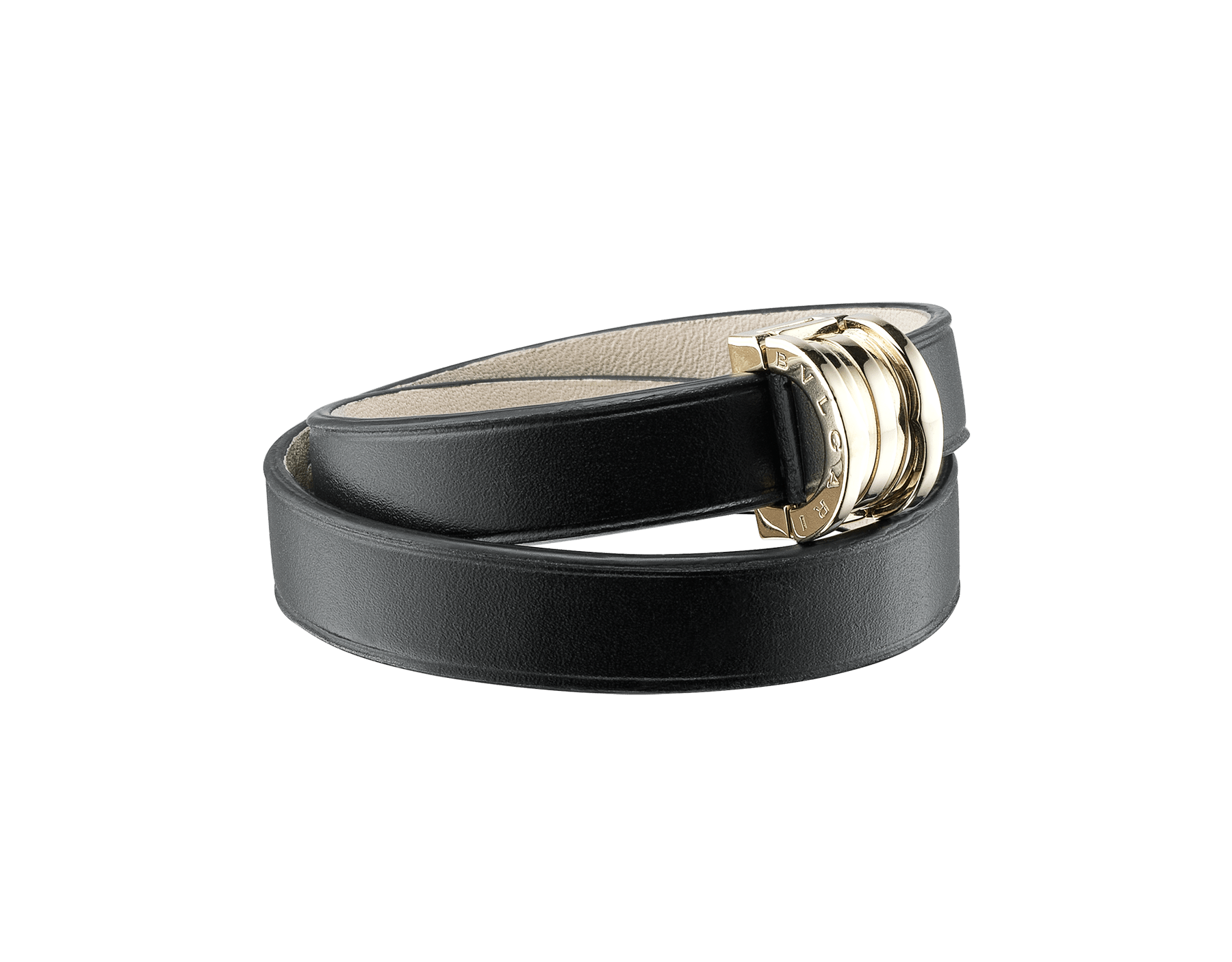 """Bvlgari Bvlgari"" double-coiled bracelet in black calf leather, with B.Zero1 snap closure in light gold plated brass. BZERO1-CL-B image 1"