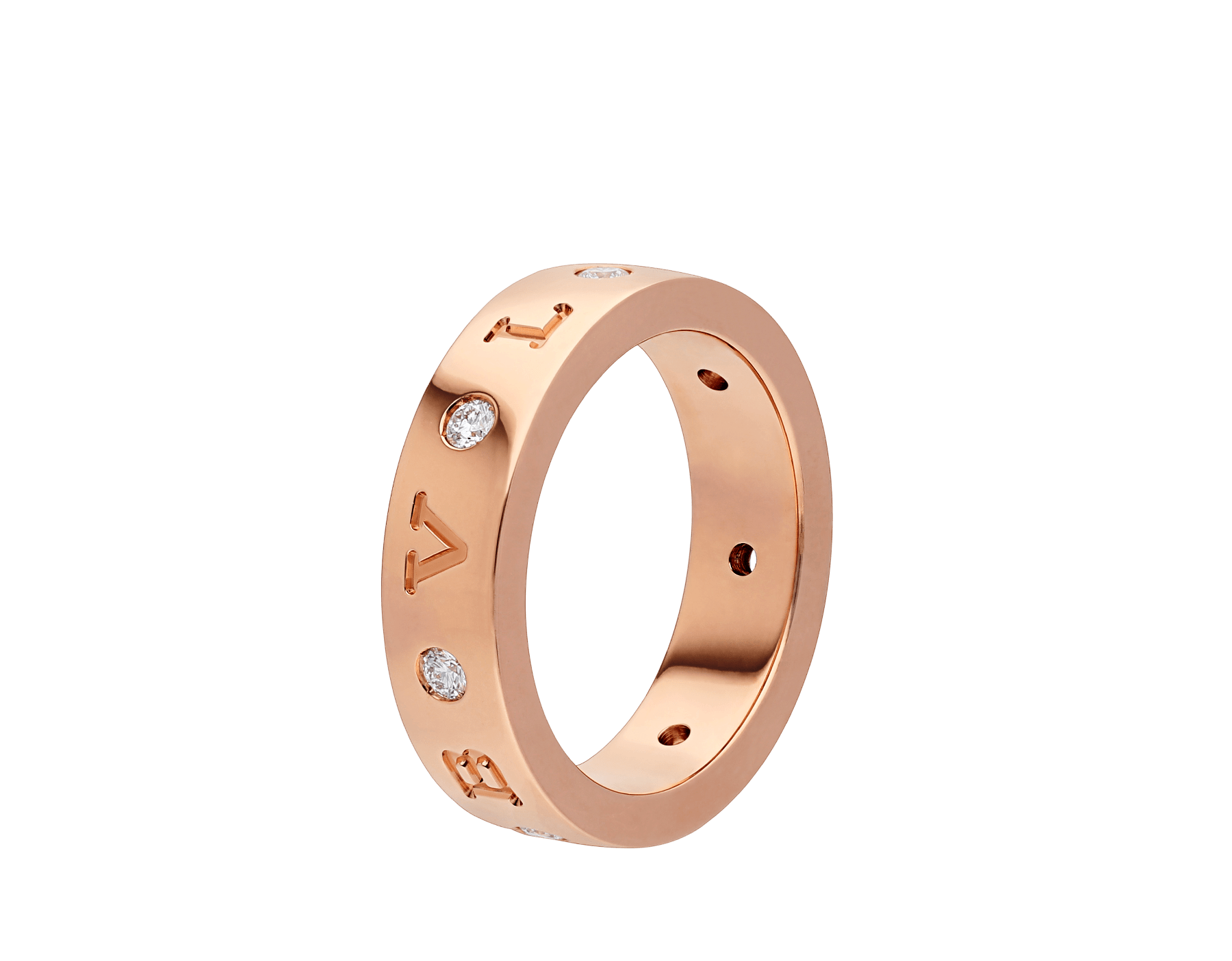 Bague BVLGARI BVLGARI en or rose 18 K sertie de sept diamants (0,20 ct) AN858005 image 1
