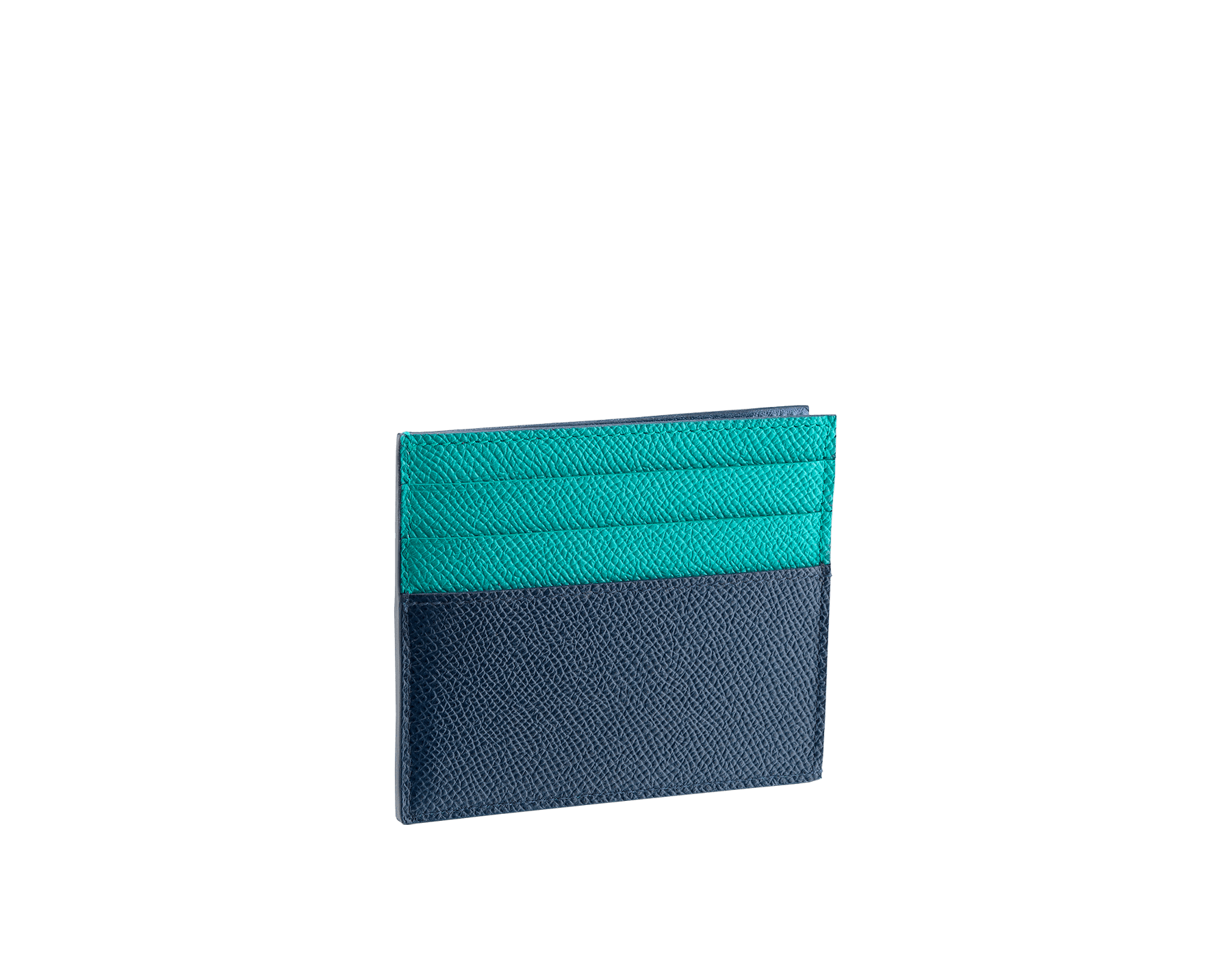 BVLGARI BVLGARI open credit card holder in denim sapphire and tropical tourquoise grain calf leather and black nappa lining. Iconic logo décor in palladium plated brass. 288311 image 2