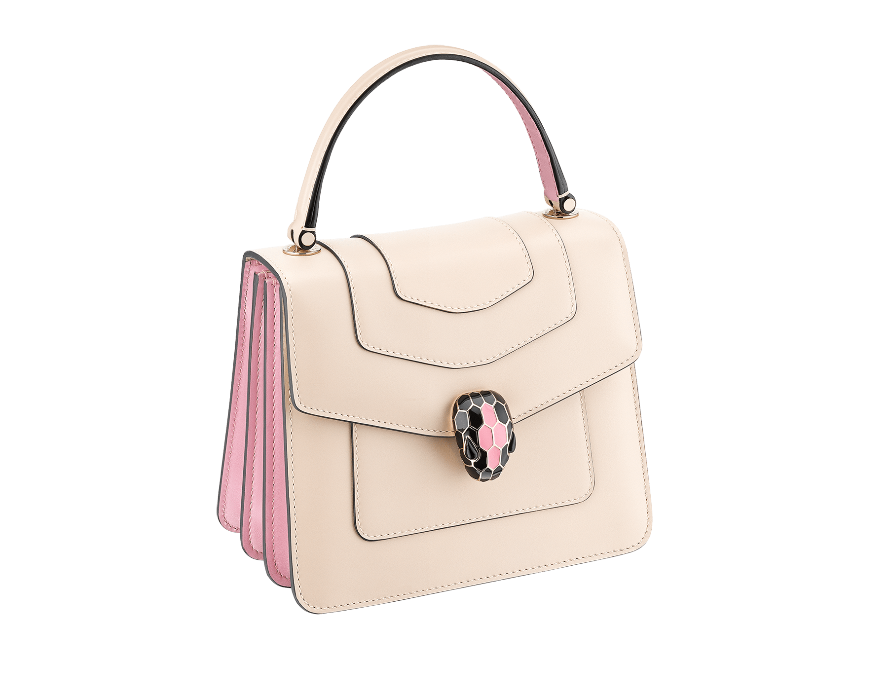 """Serpenti Forever"" crossbody bag with milky opal calf leather body and flamingo quartz calf leather sides. Iconic snakehead closure in light gold-plated brass enriched with milky opal and black enamel and black onyx eyes. 287978 image 2"
