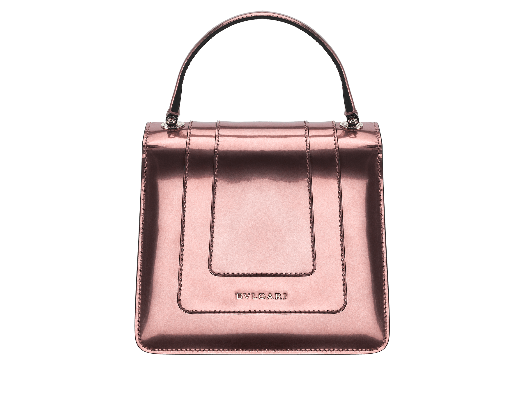 Flap cover bag Serpenti Forever in rose quartz brushed metallic calf leather. Brass light gold plated hardware and snake head closure in black and white enamel, with eyes in green malachite. 284802 image 2