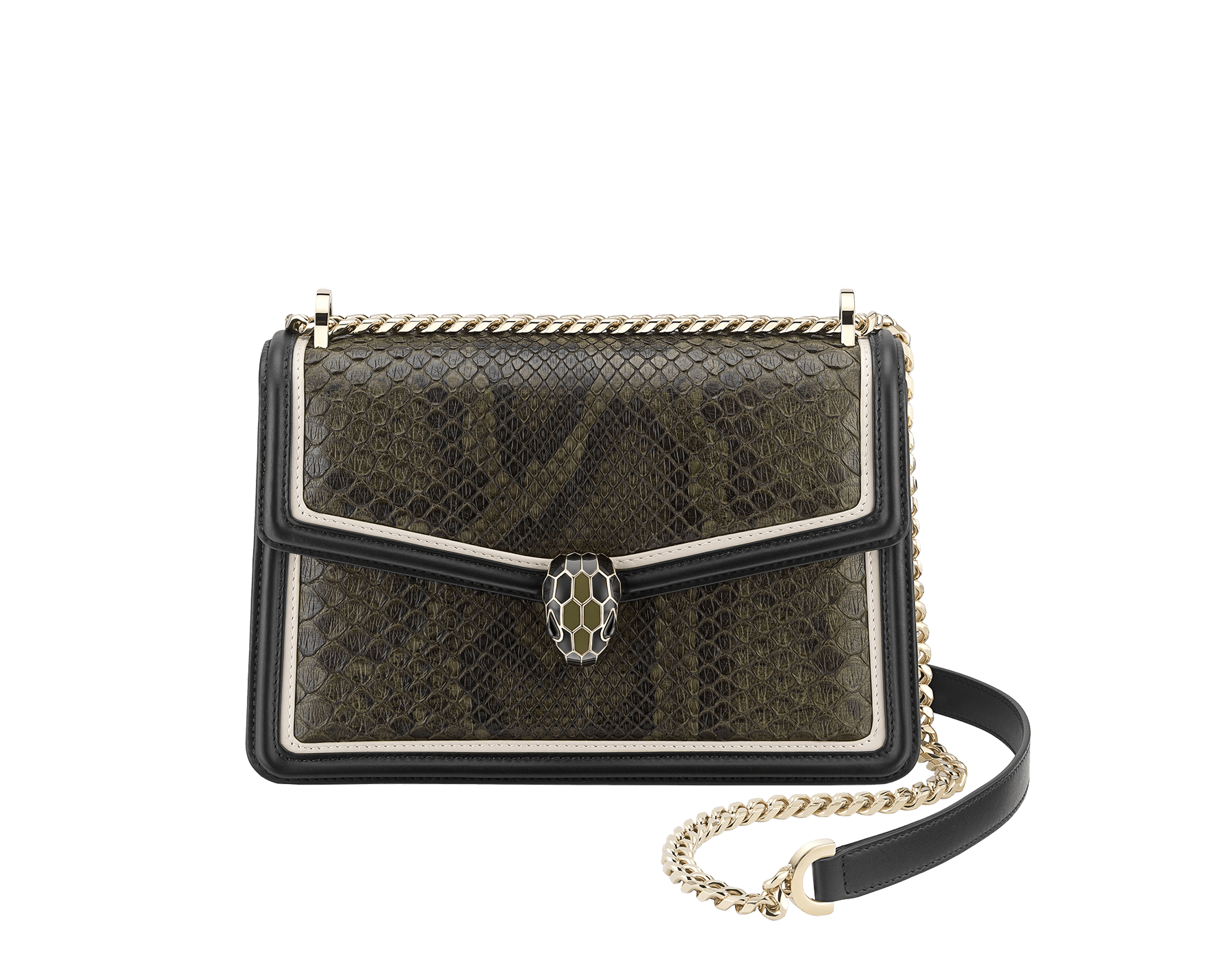 """Serpenti Diamond Blast"" shoulder bag in mimetic jade ""Pure"" python skin and black smooth calf leather frames. Iconic snakehead closure in light gold plated brass enriched with matte black and shiny mimetic jade enamel and black onyx eyes. 290037 image 1"