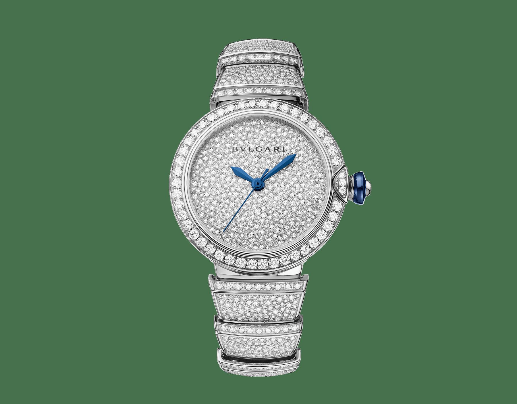 LVCEA Uhr mit Gehäuse und Armband aus 18Karat Weißgold mit Diamanten im Brillantschliff und Zifferblatt voll ausgefasst mit Diamant-Pavé. 102365 image 1