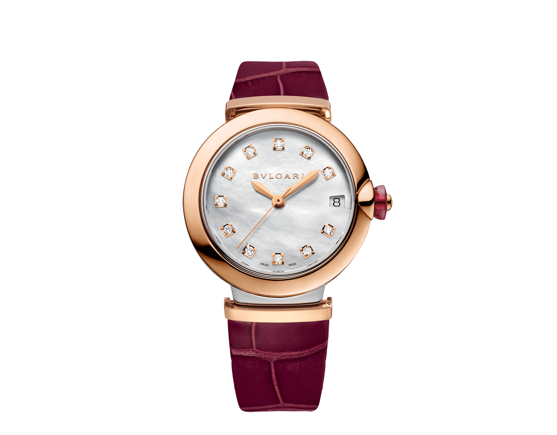 LVCEA watch with 18 kt rose gold and stainless steel case, white mother-of-pearl dial set with diamond indexes, date aperture and burgundy alligator bracelet. 102639 image 1